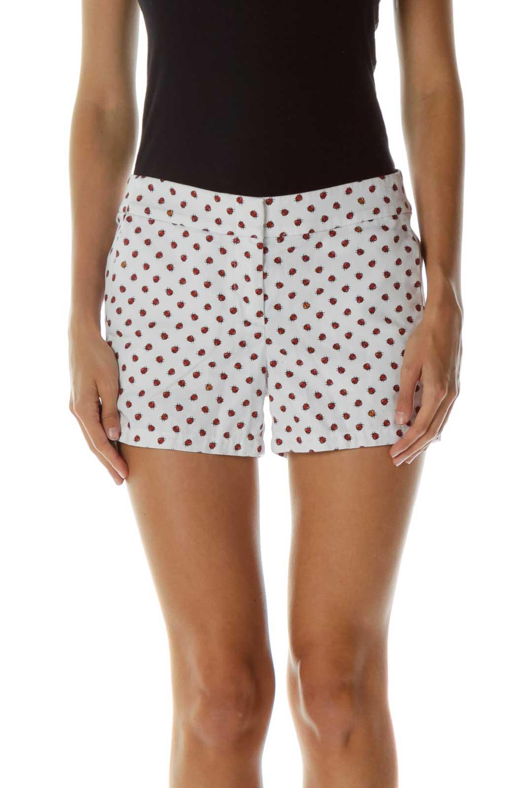 White Ladybug Print Shorts Front