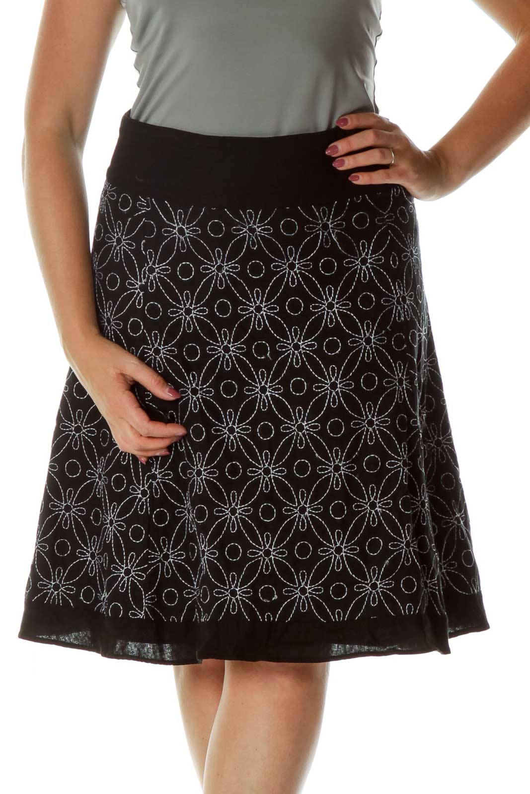 Black White Embroidered A-Line Skirt Front