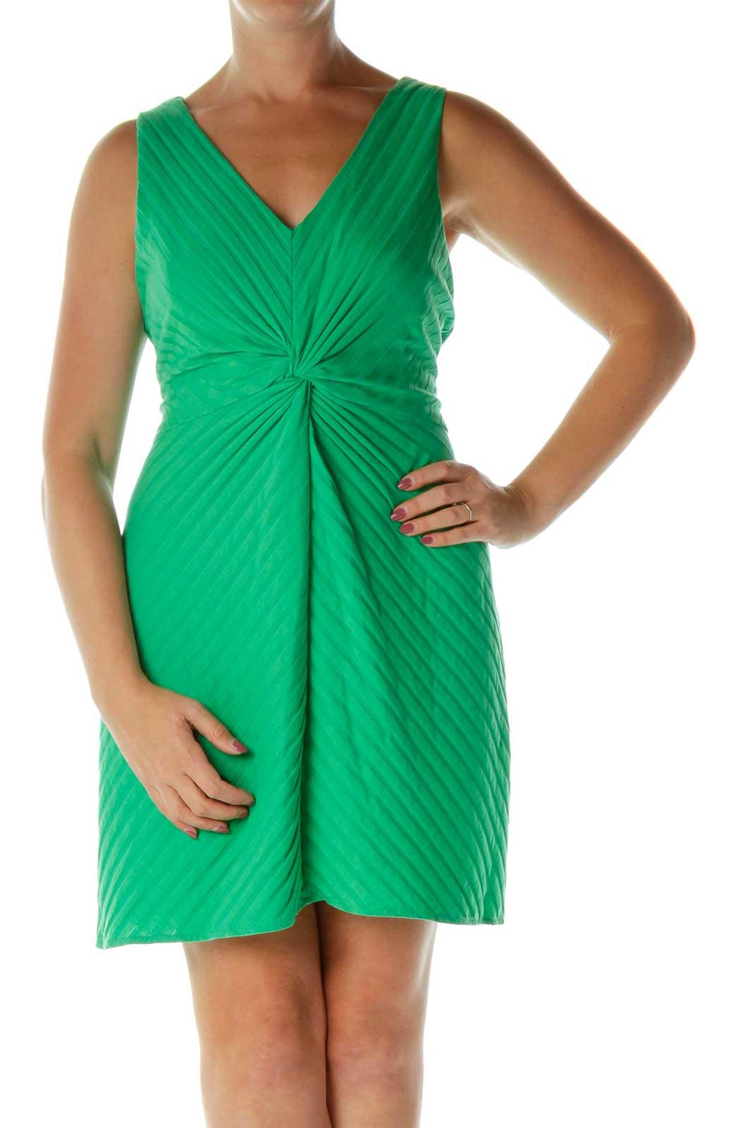 Green V-Neck Empire Waist Day Dress Front