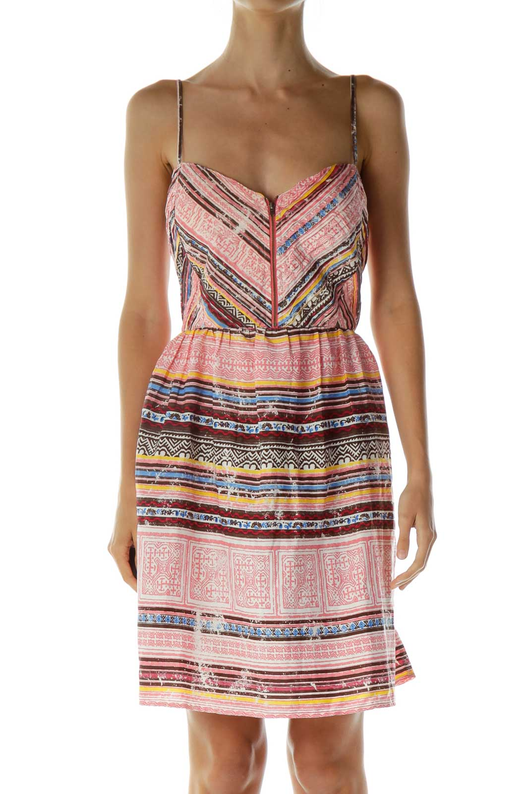 Print Printed Zippered Day Dress Front