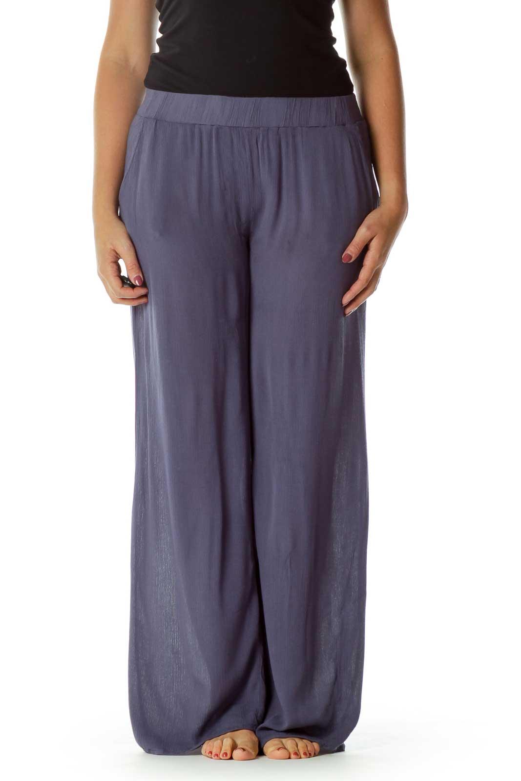 Blue Loose Wide Leg Pants Front