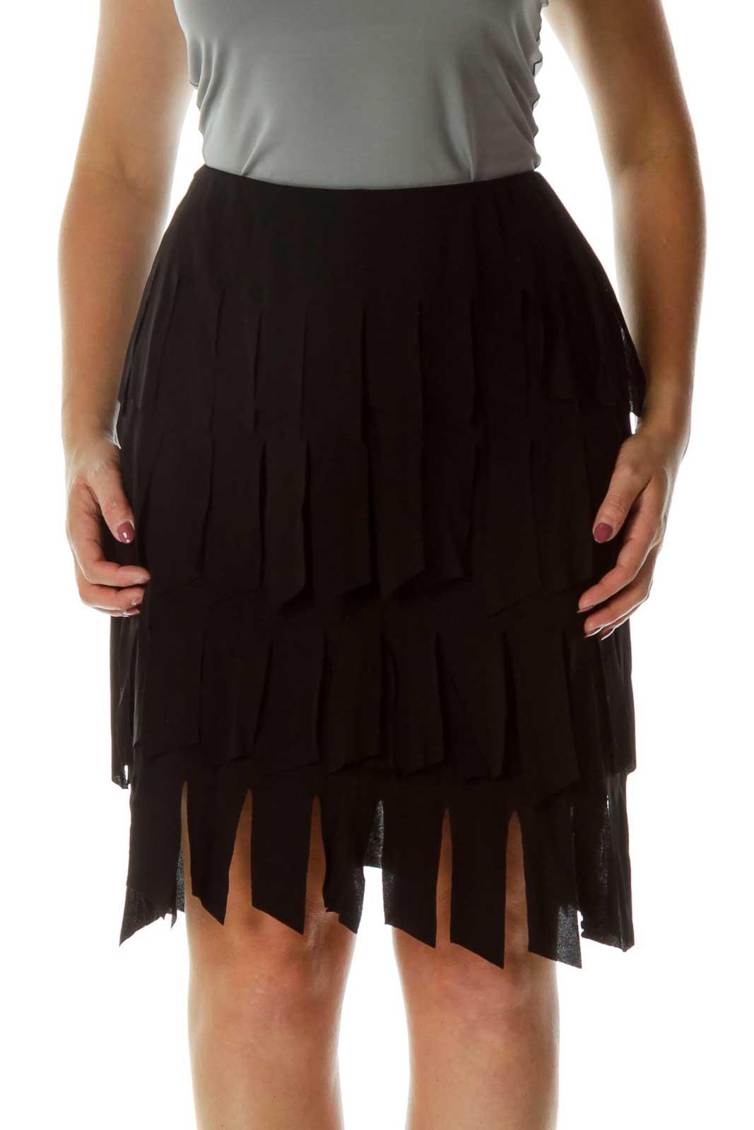 Black Fringe Pencil Pencil Skirt Front