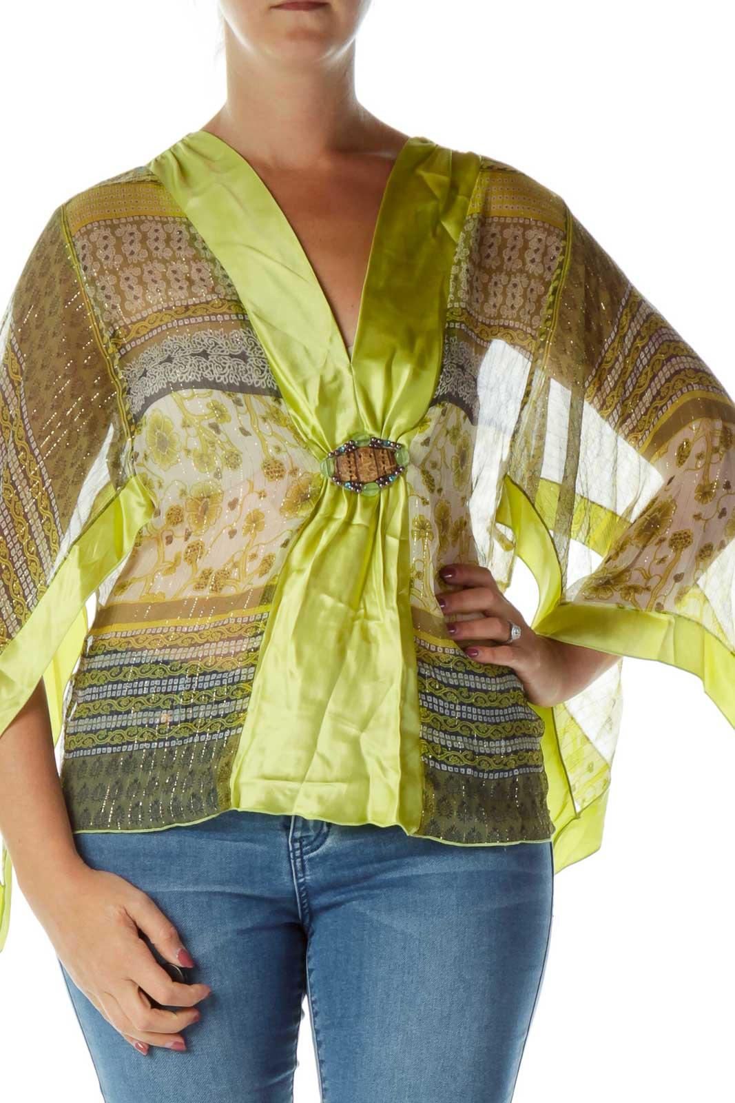 Green Sheer Silk Printed Blouse Front