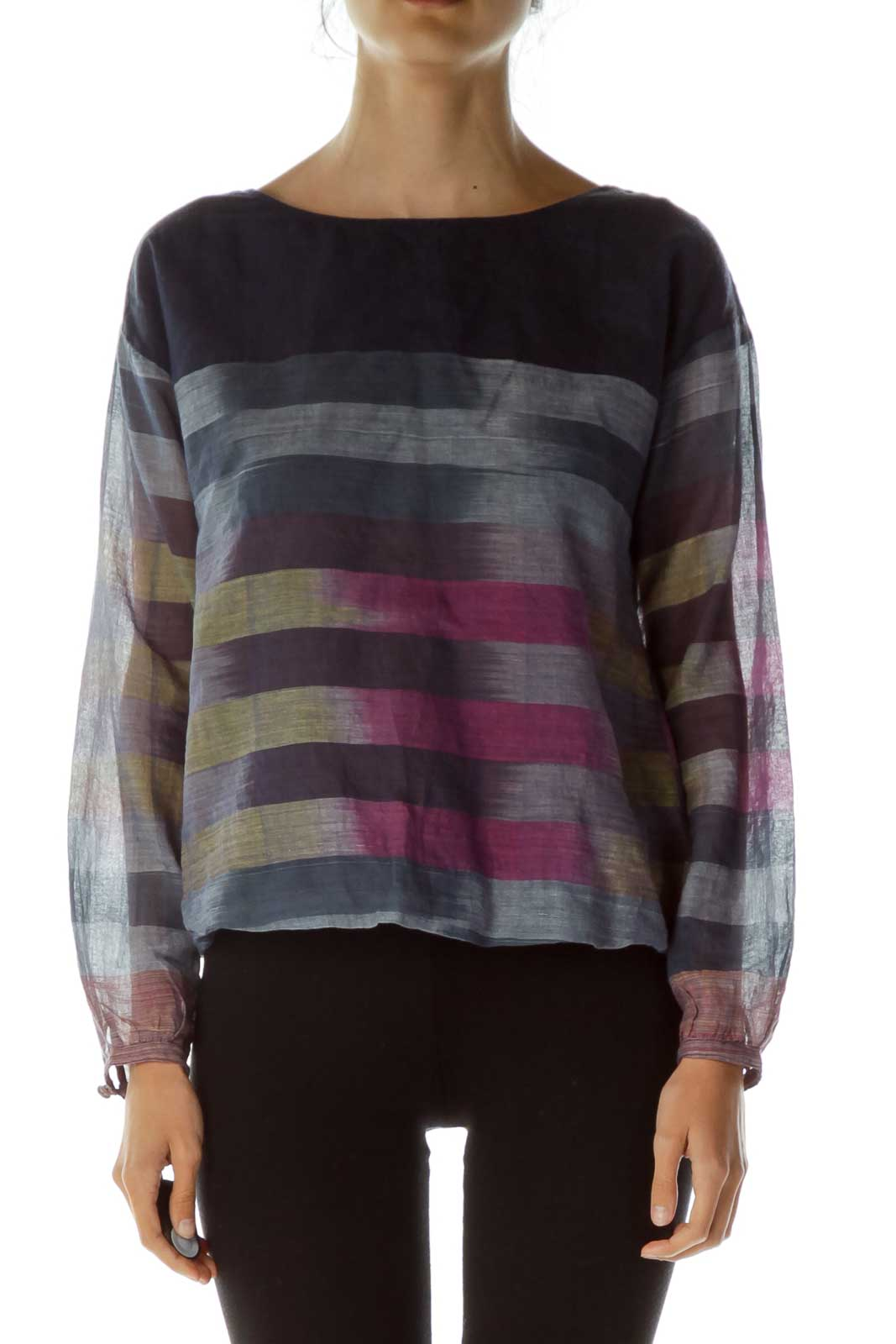 Navy Round Neck Striped Blouse Front
