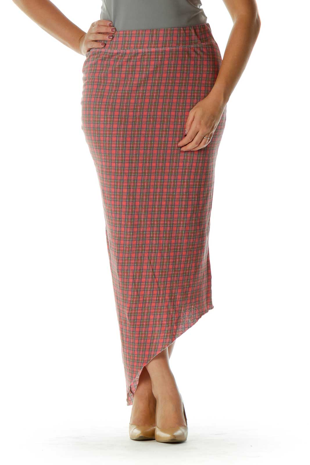 Red Blue Plaid Asymmetrical Skirt Front
