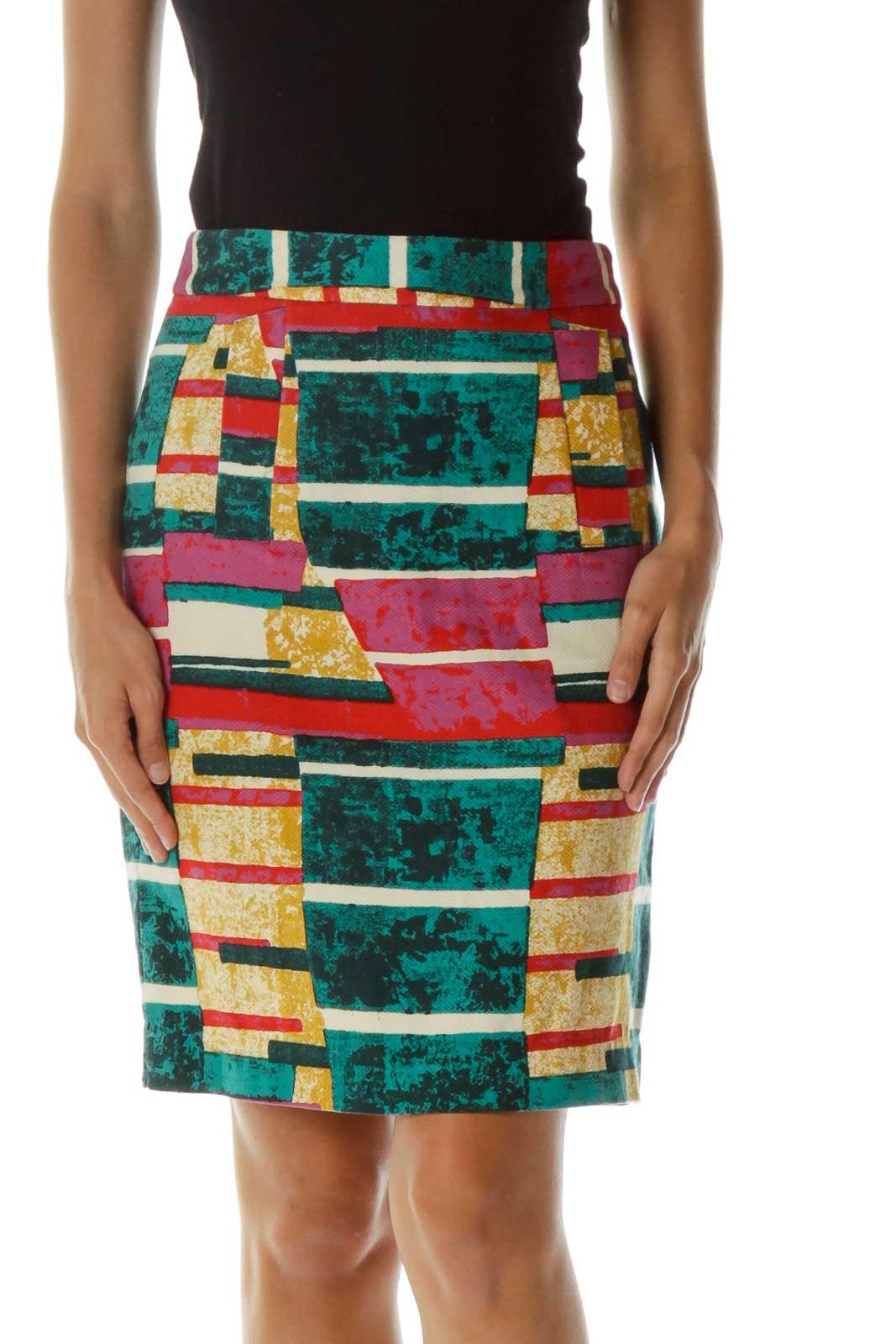 Multicolor Print Pencil Skirt Front
