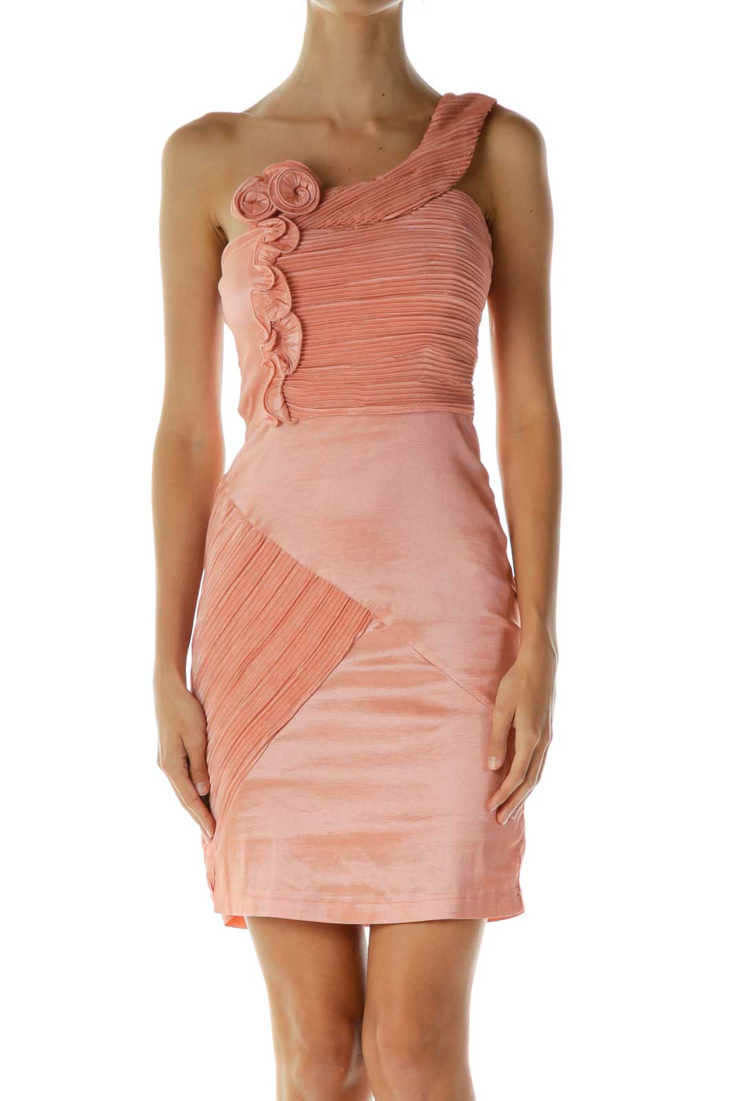 Pink Scrunched Ruffled Cocktail Dress Front