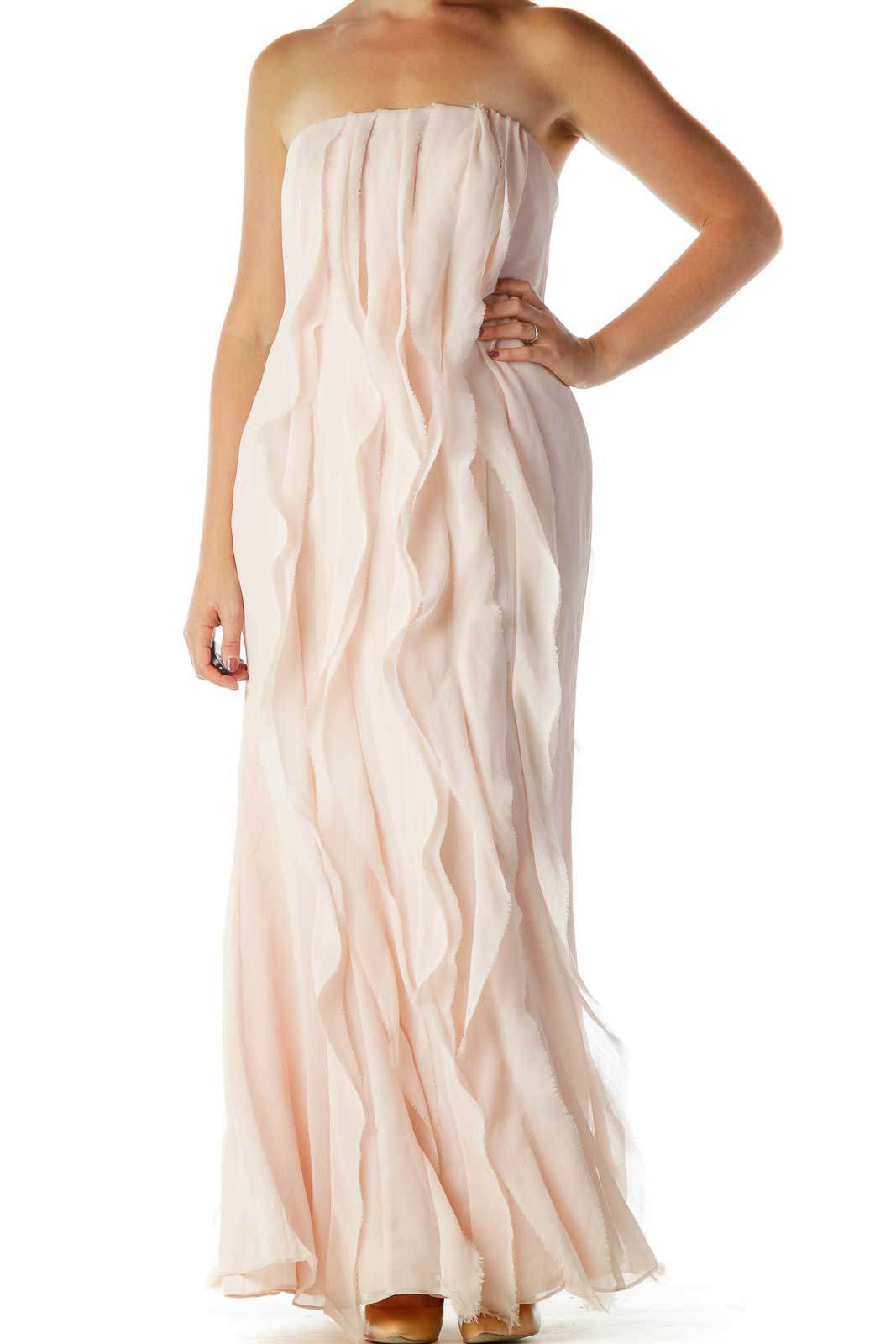 Pink Ruffled Strapless Evening Dress Front