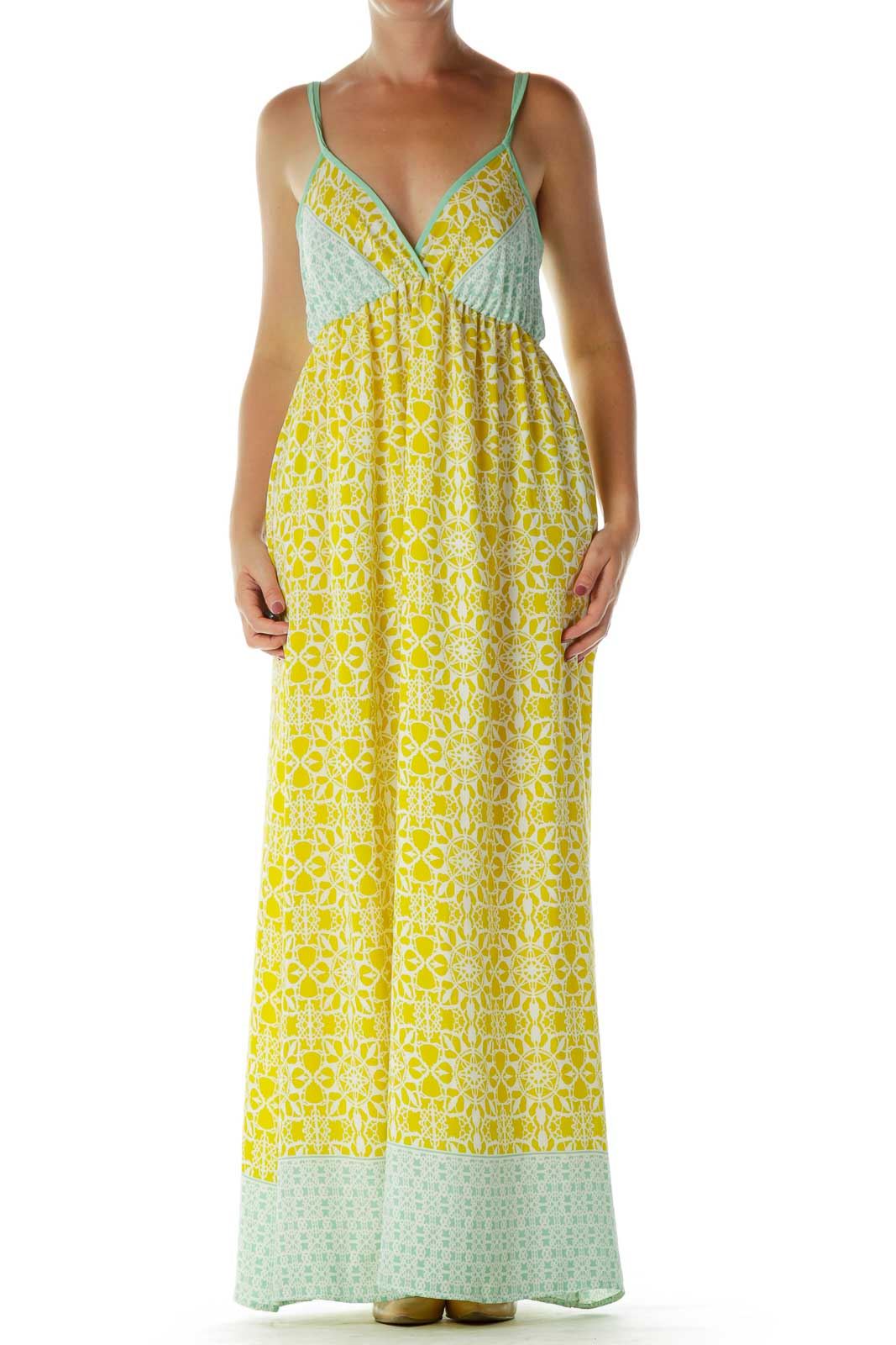 Yellow Green Print Maxi Dress Front