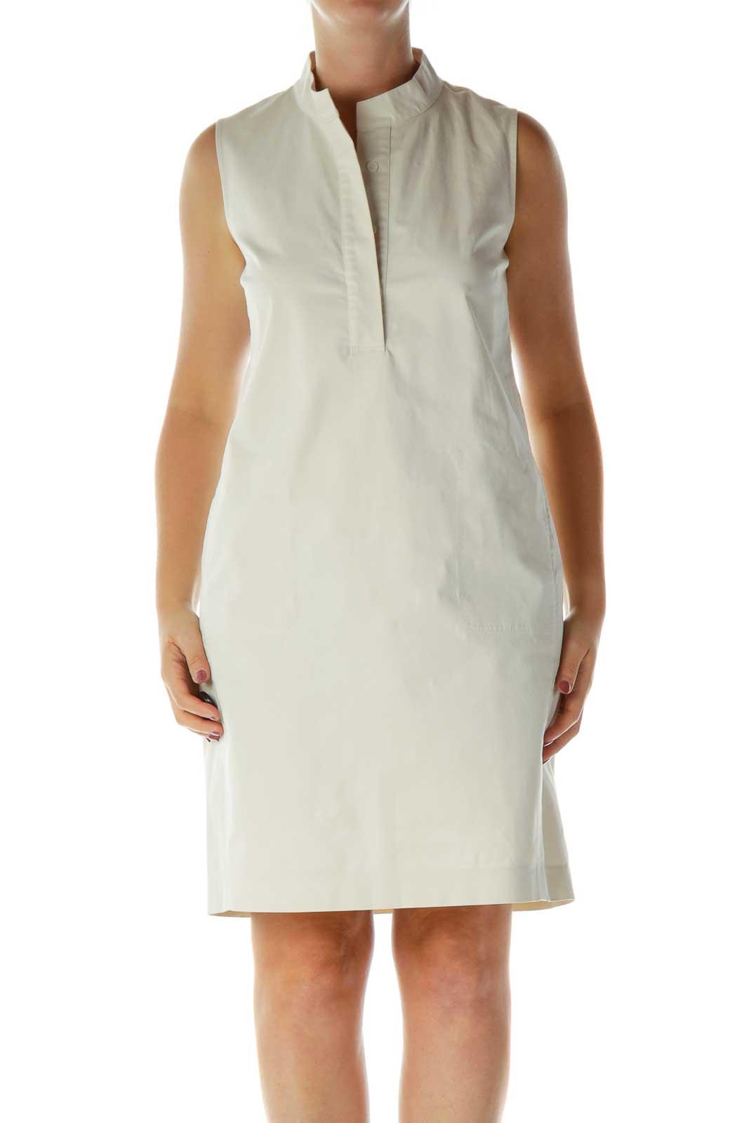 Cream Khaki Sleeveless Work Dress Front