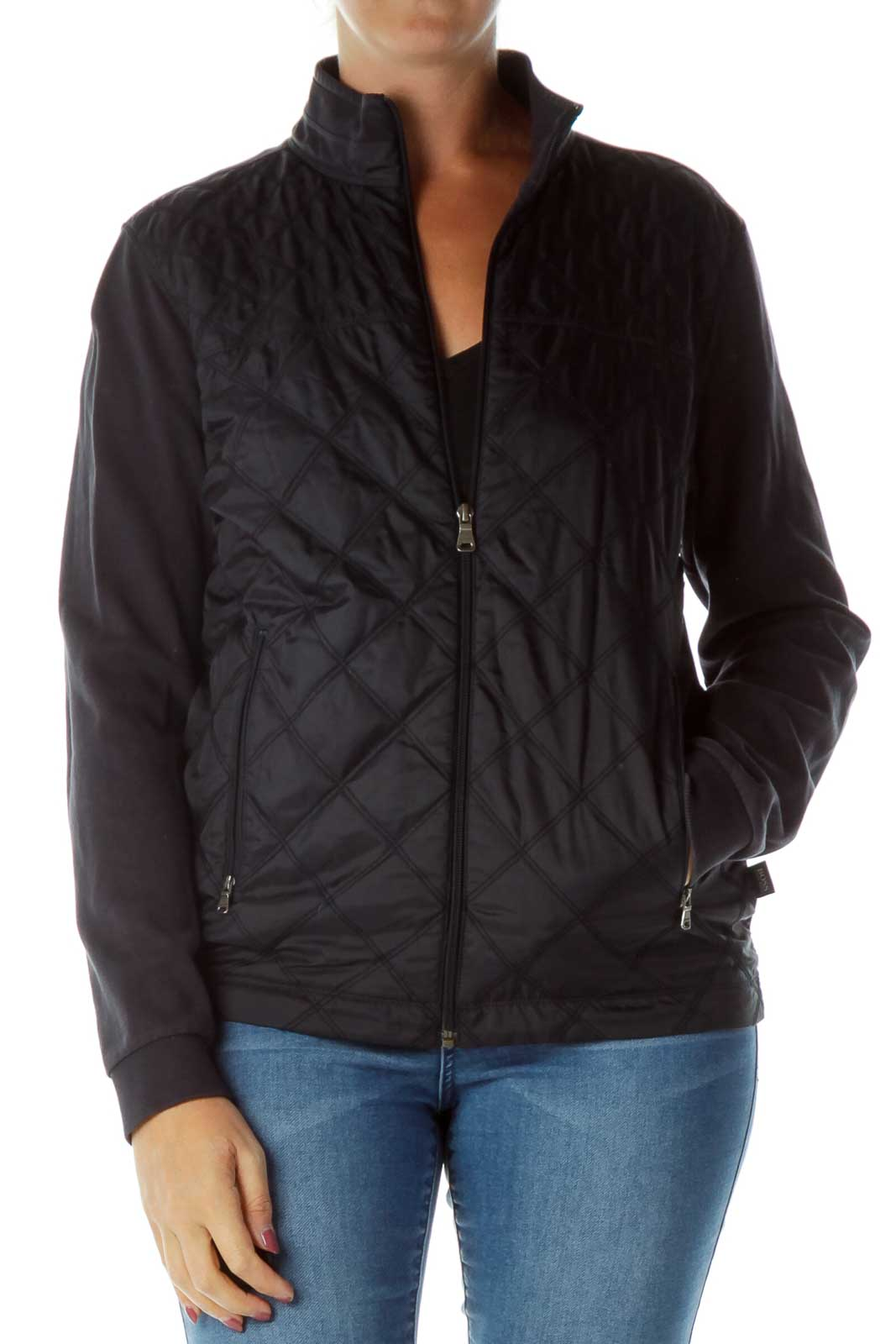 Navy Quilted Sports Jacket Front