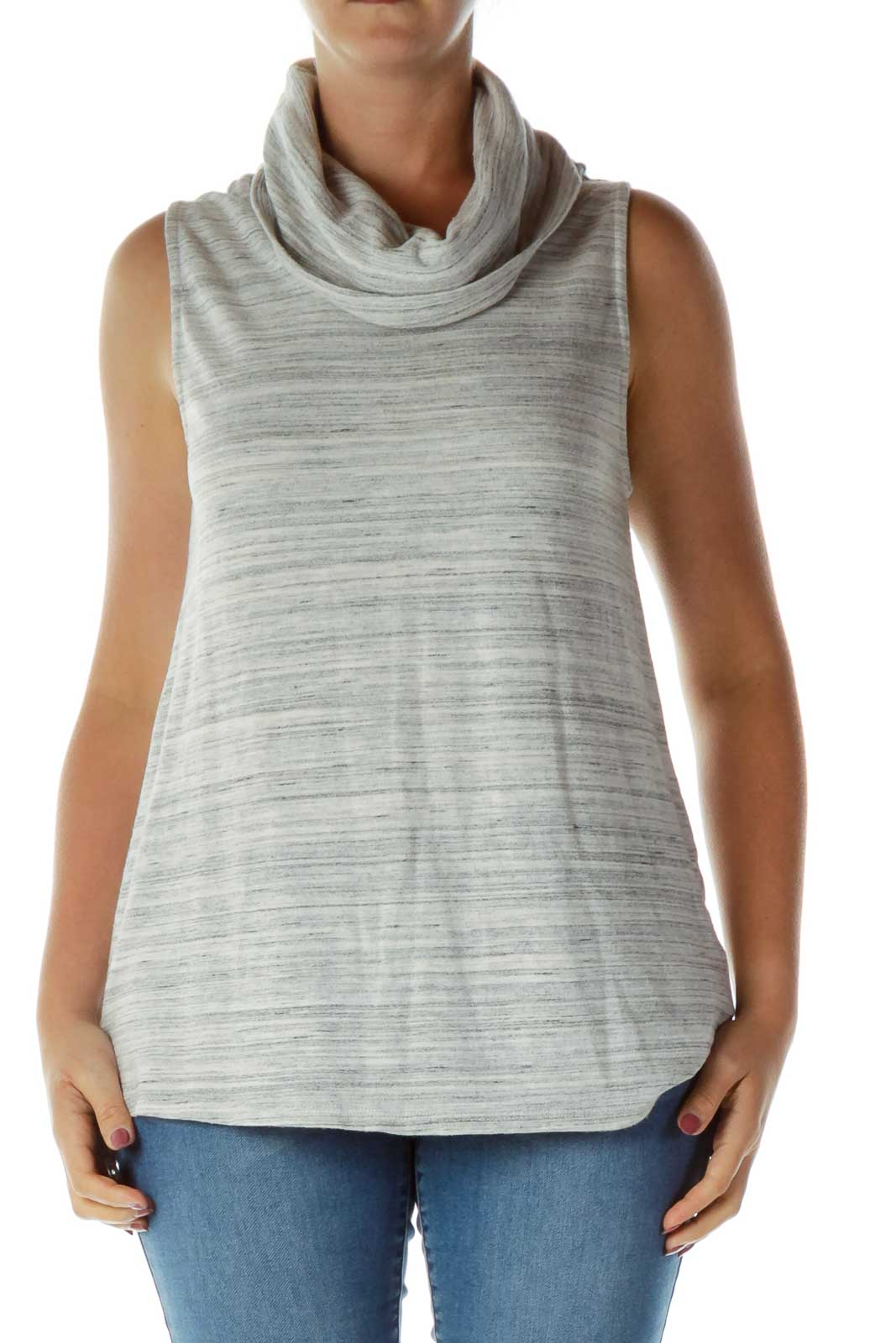 Gray Mottled Knit Dress Front