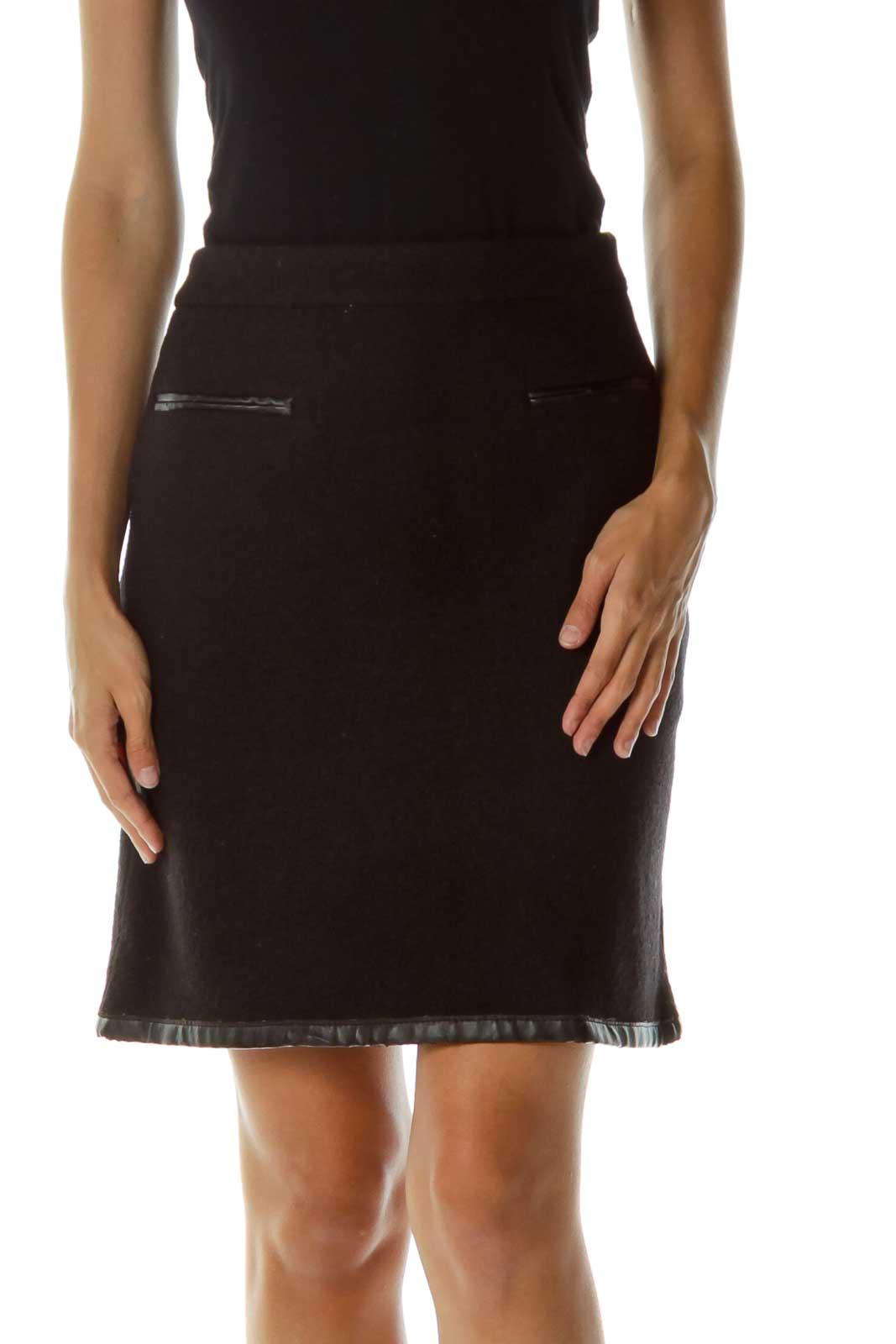 Black Wool Mini Skirt Front