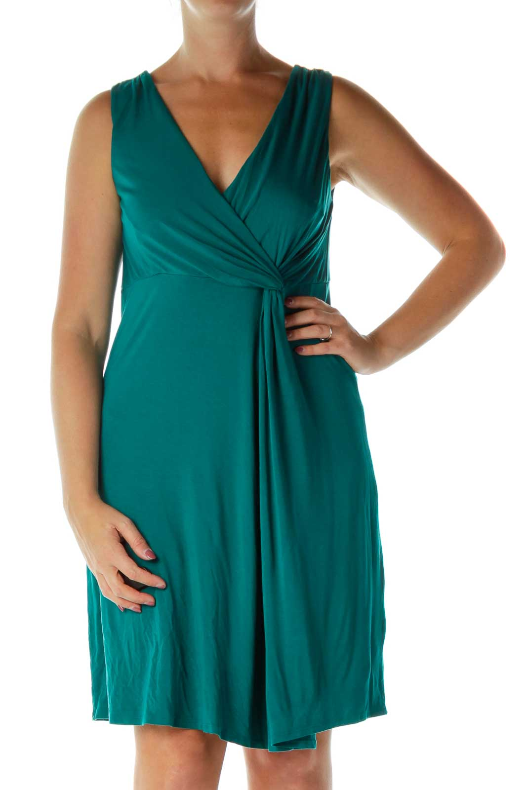 Teal Blue Day Dress Front