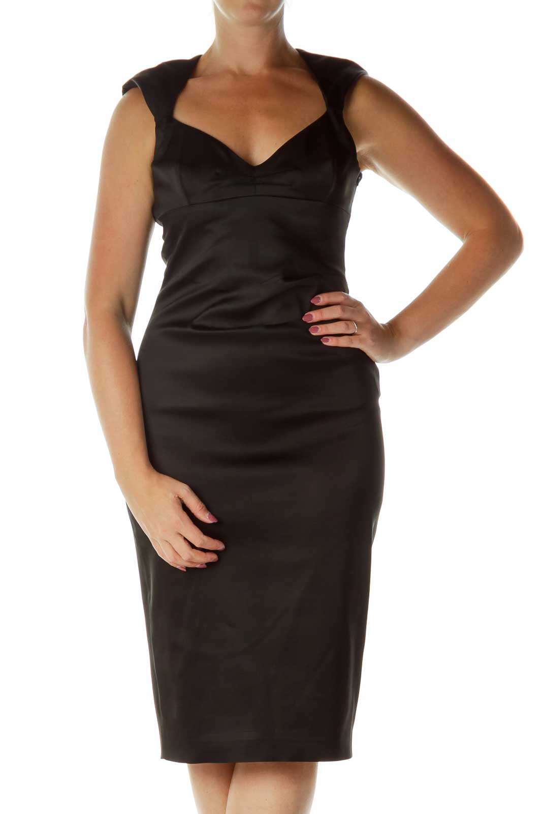 Black Sweetheart Neck Satin Cocktail Midi Dress Front