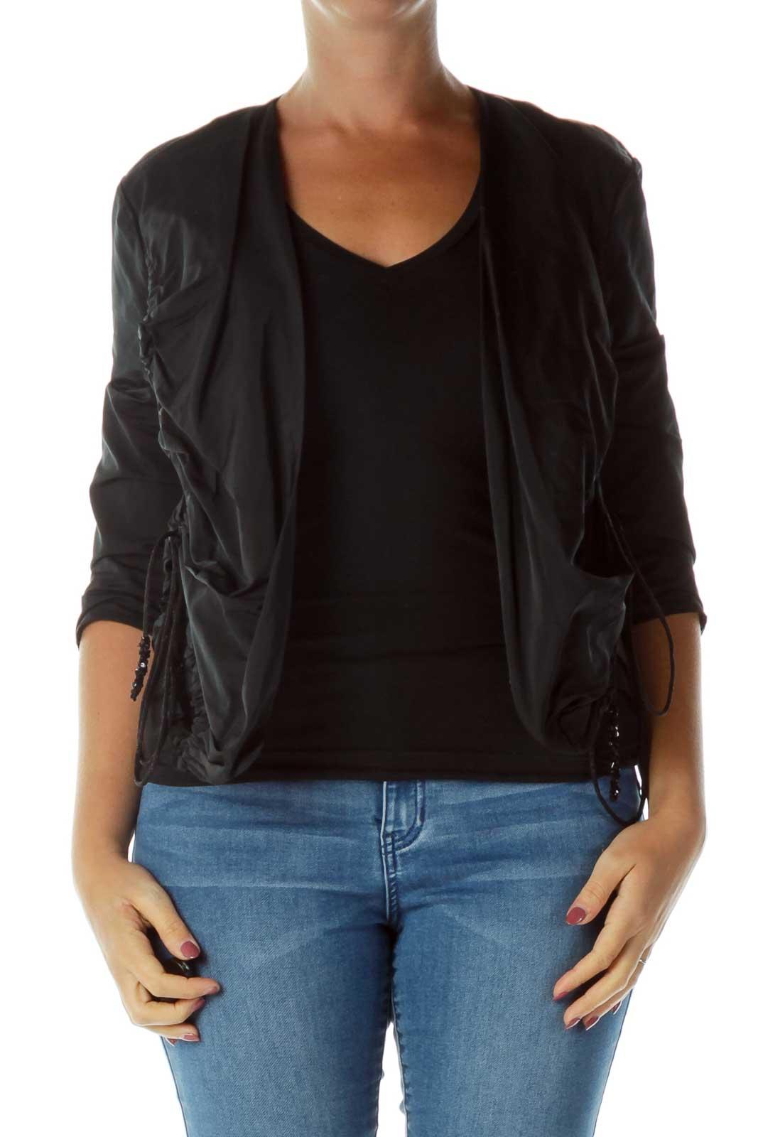Black Scrunched Blazer Front