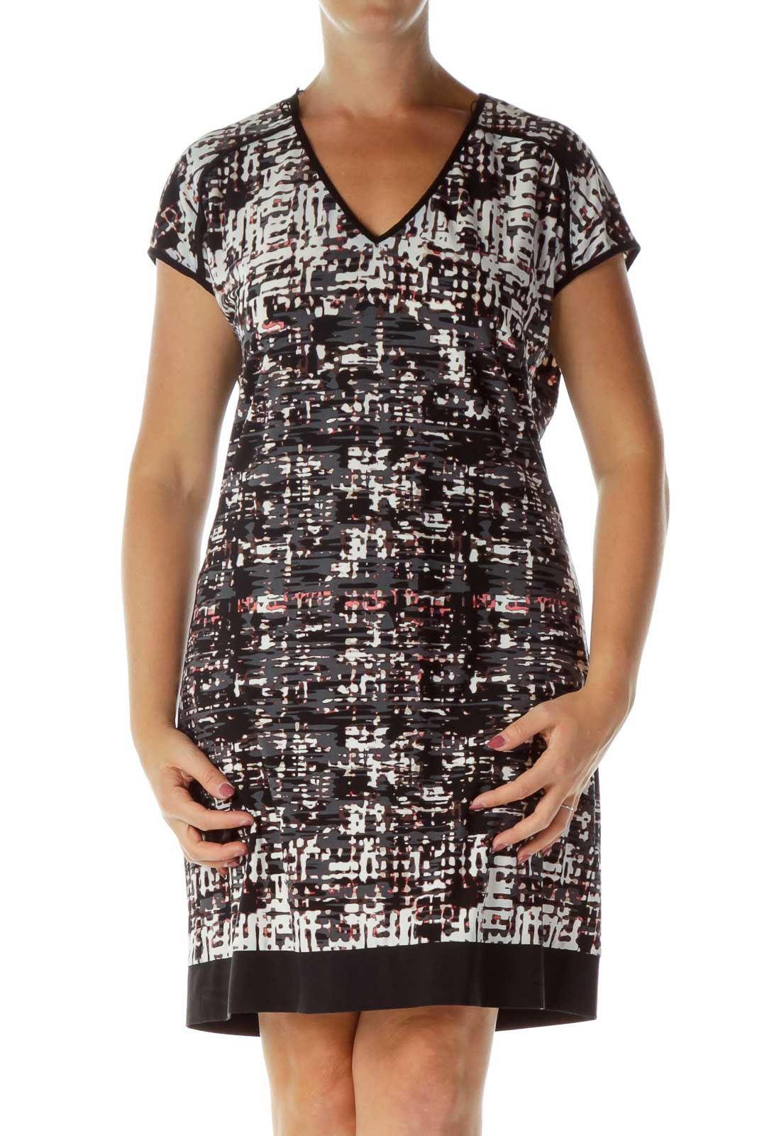 Black Gray Printed Work Dress Front