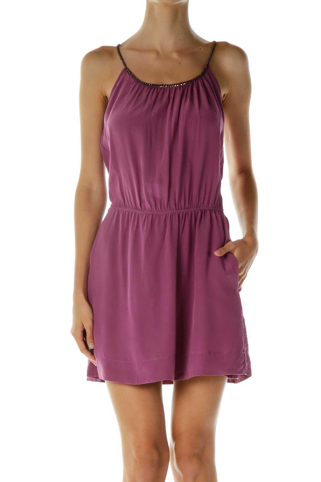Purple Silk Cocktail Dress Front