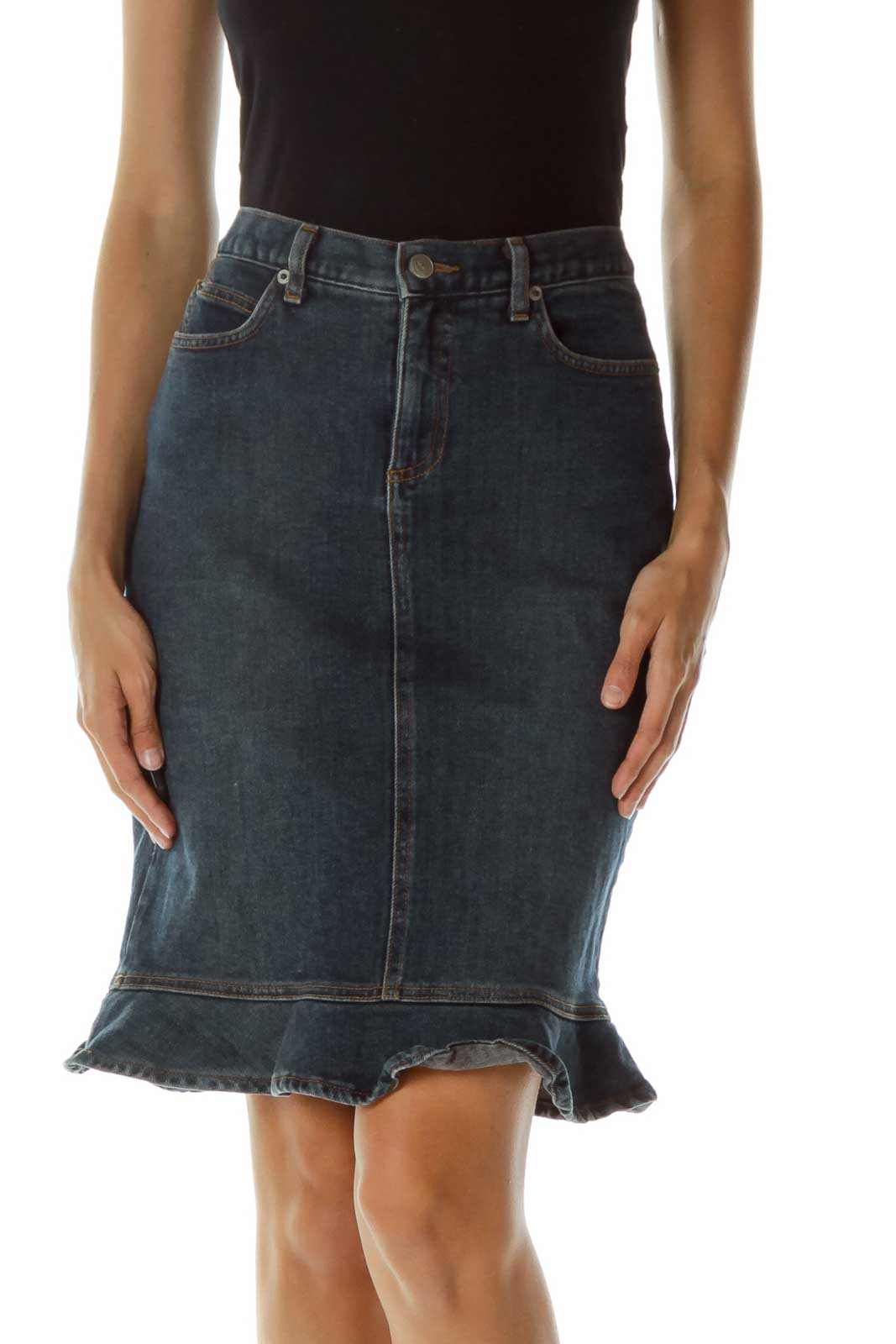 Blue Ruffled Denim Skirt Front