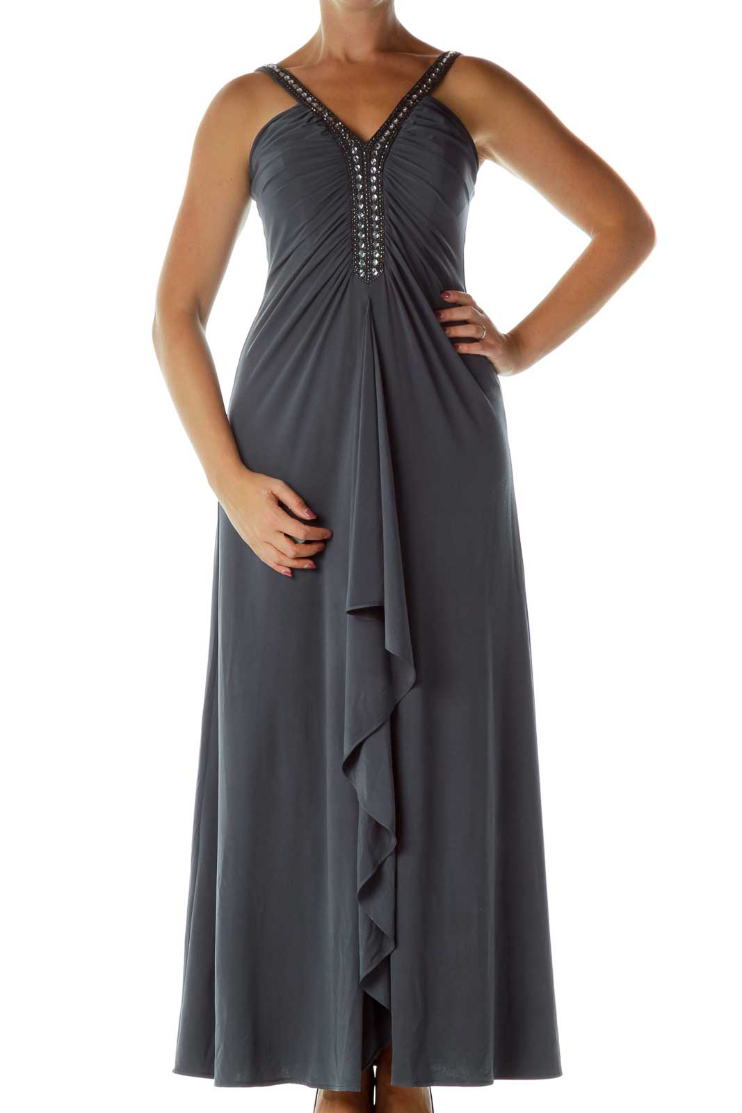Gray Beaded Evening Dress Front