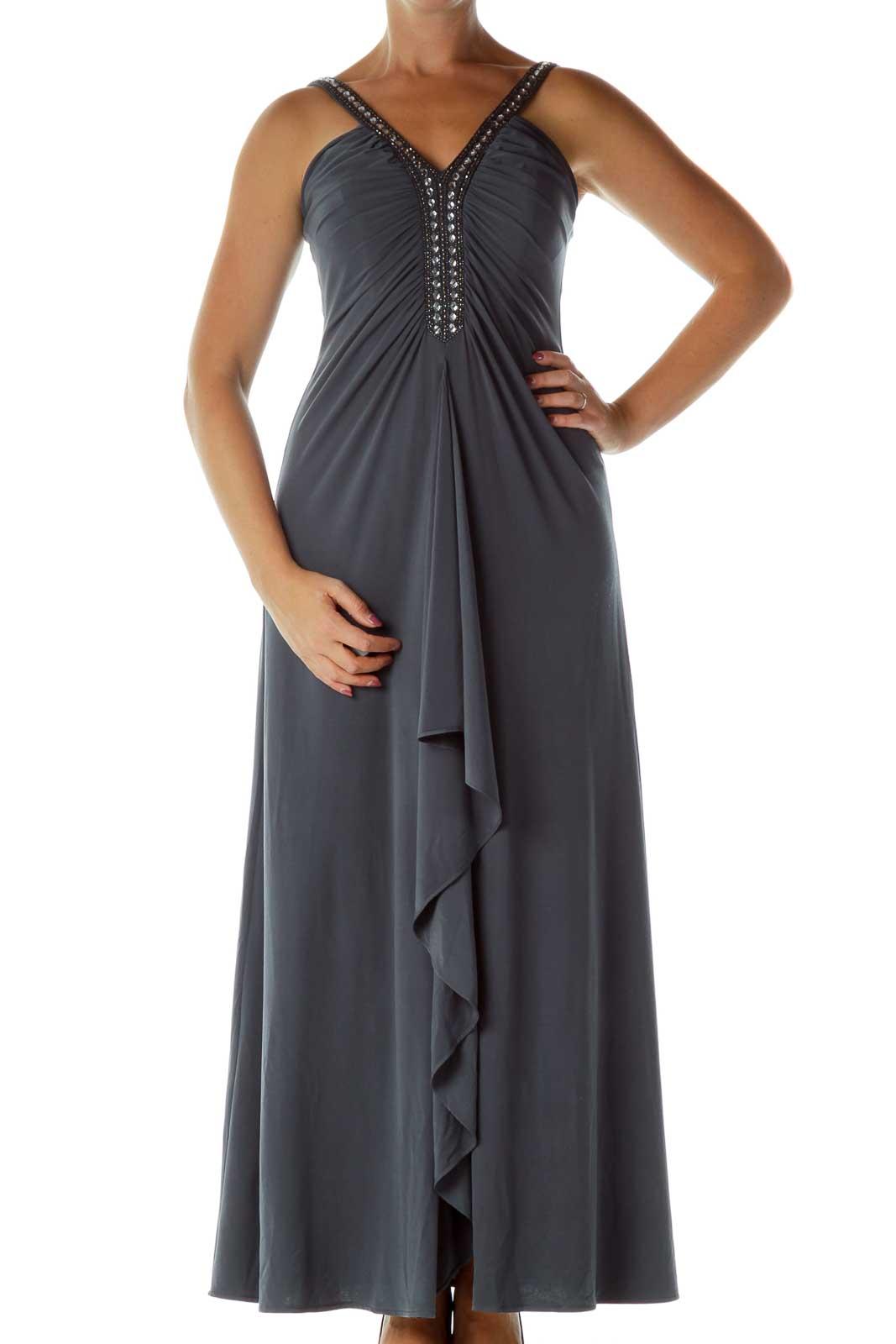 Gray Beaded Evening Dress Front