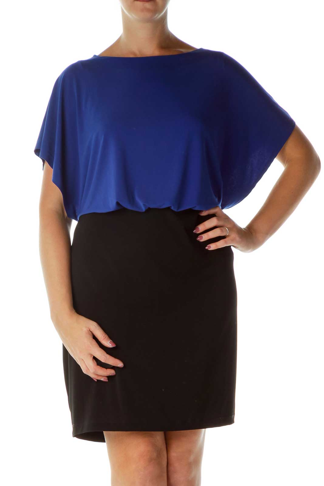 Blue Black Color Block Cocktail Dress Front