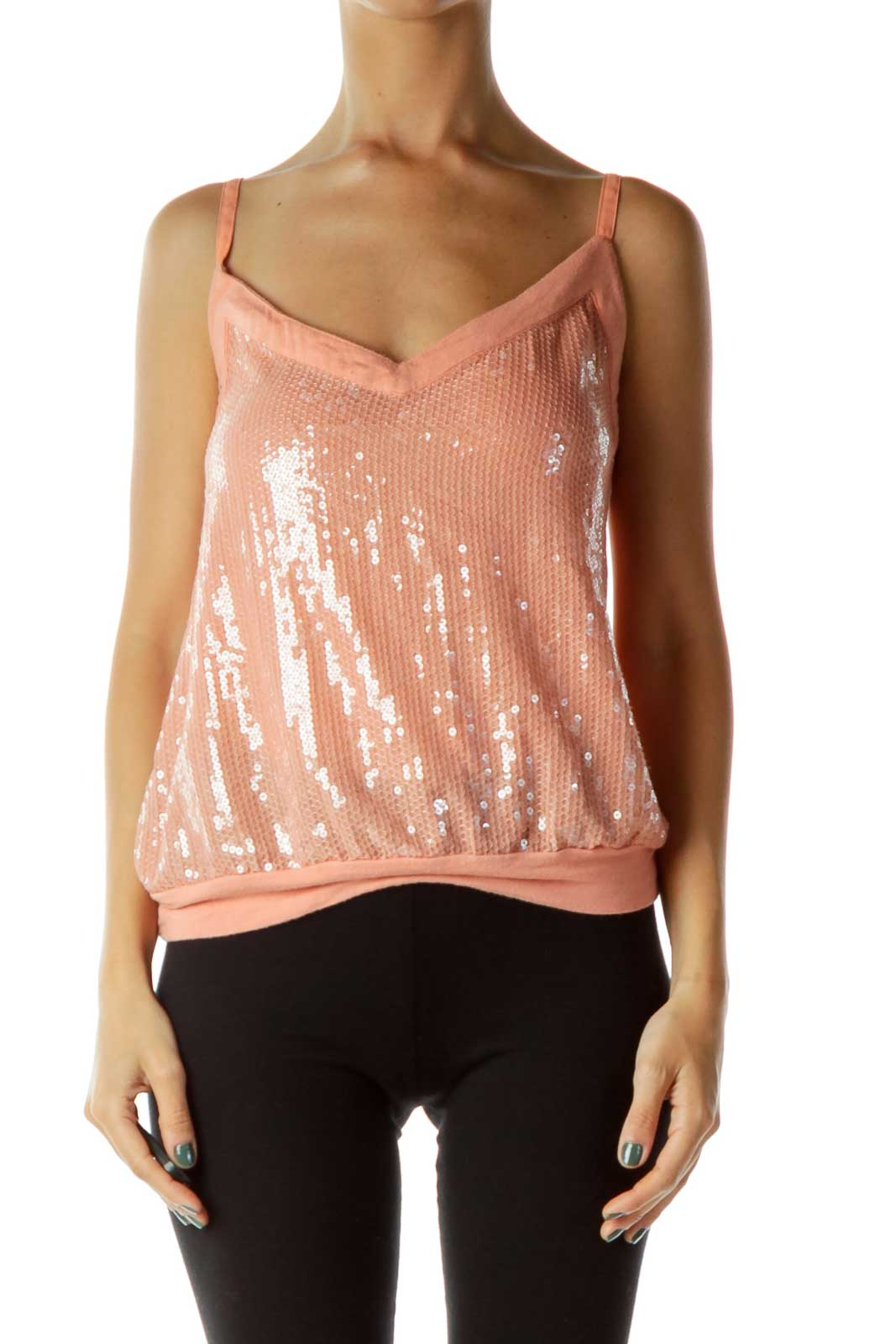 Coral Spaghetti Strap Sequined Tank Front