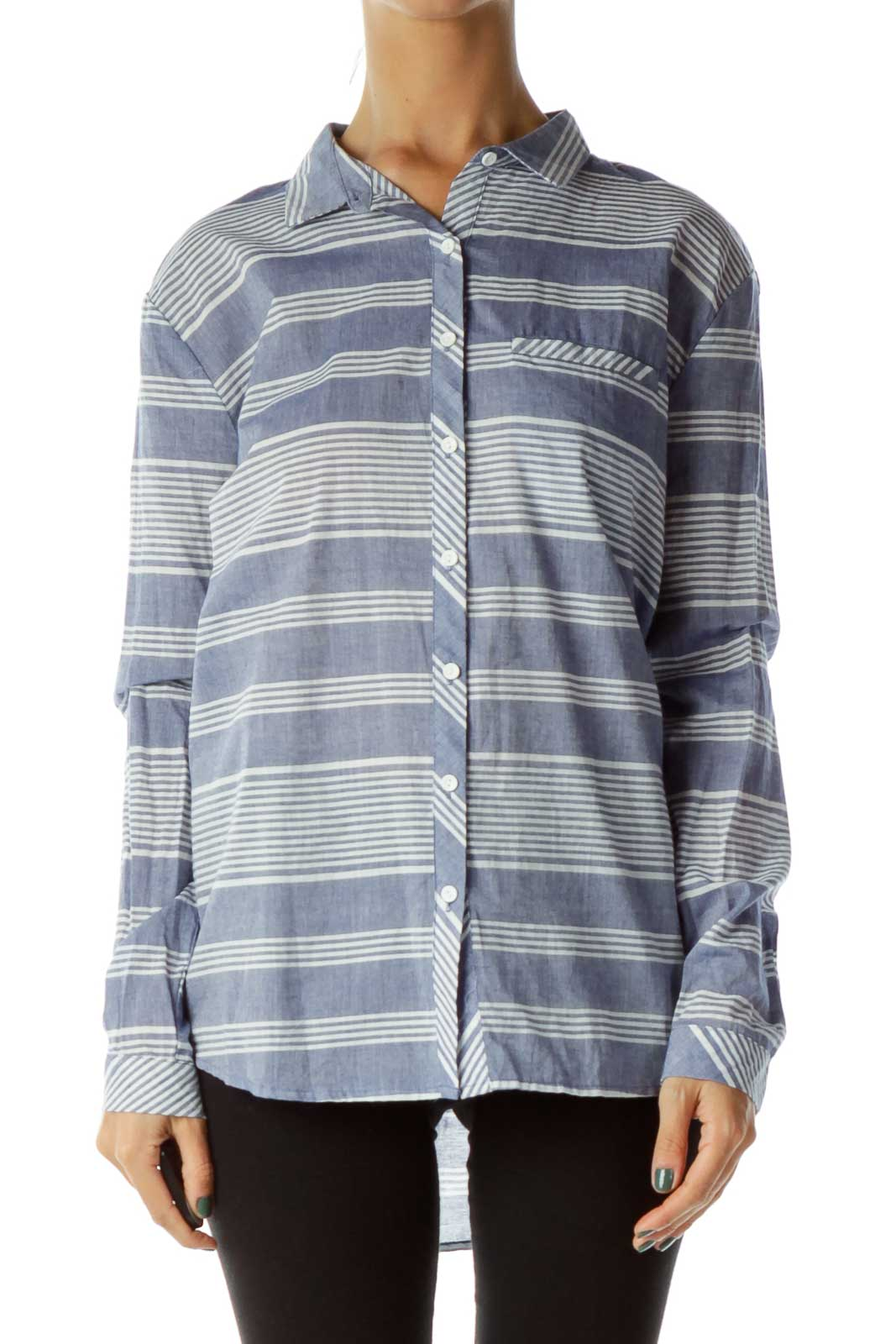 Blue White Striped Shirt Front