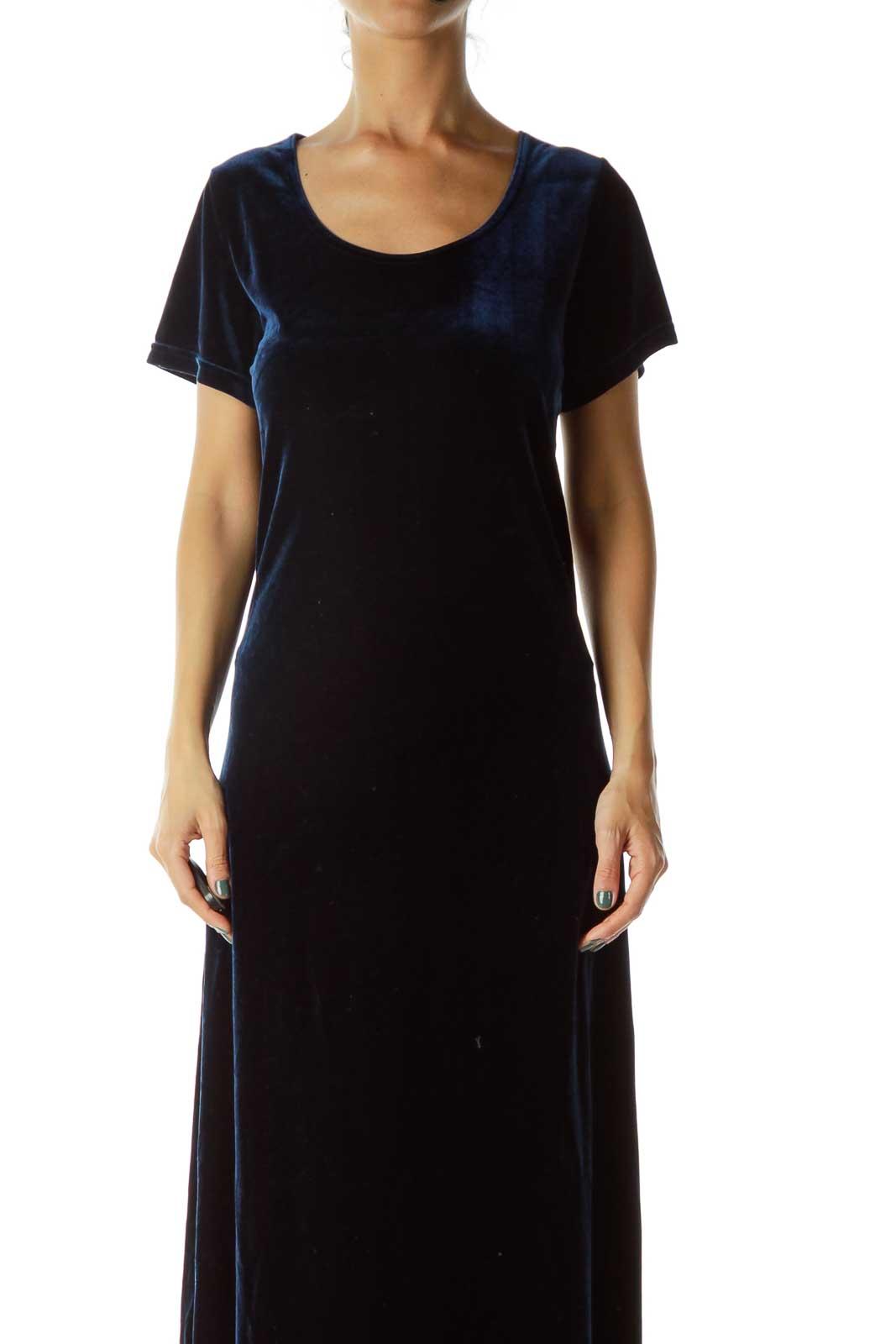 Navy Velvet Maxi Dress Front