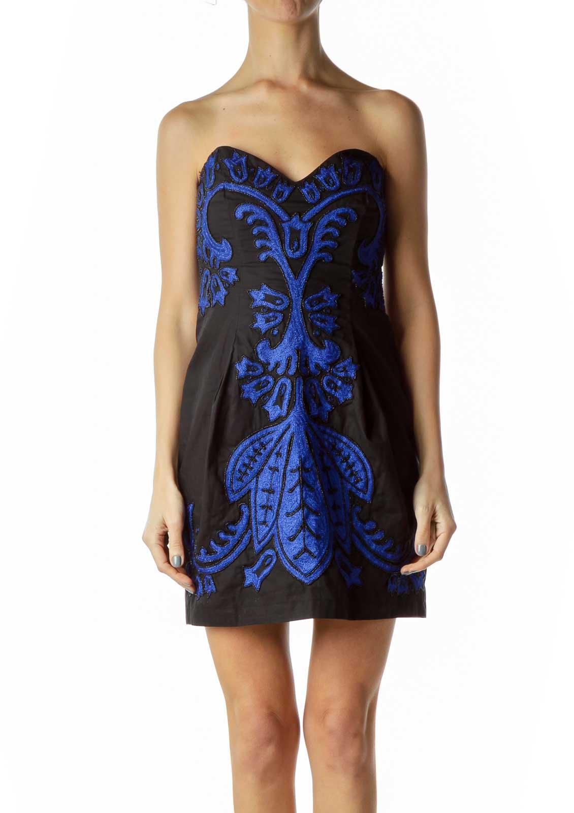 Black/Blue Beaded Strapless Dress Front