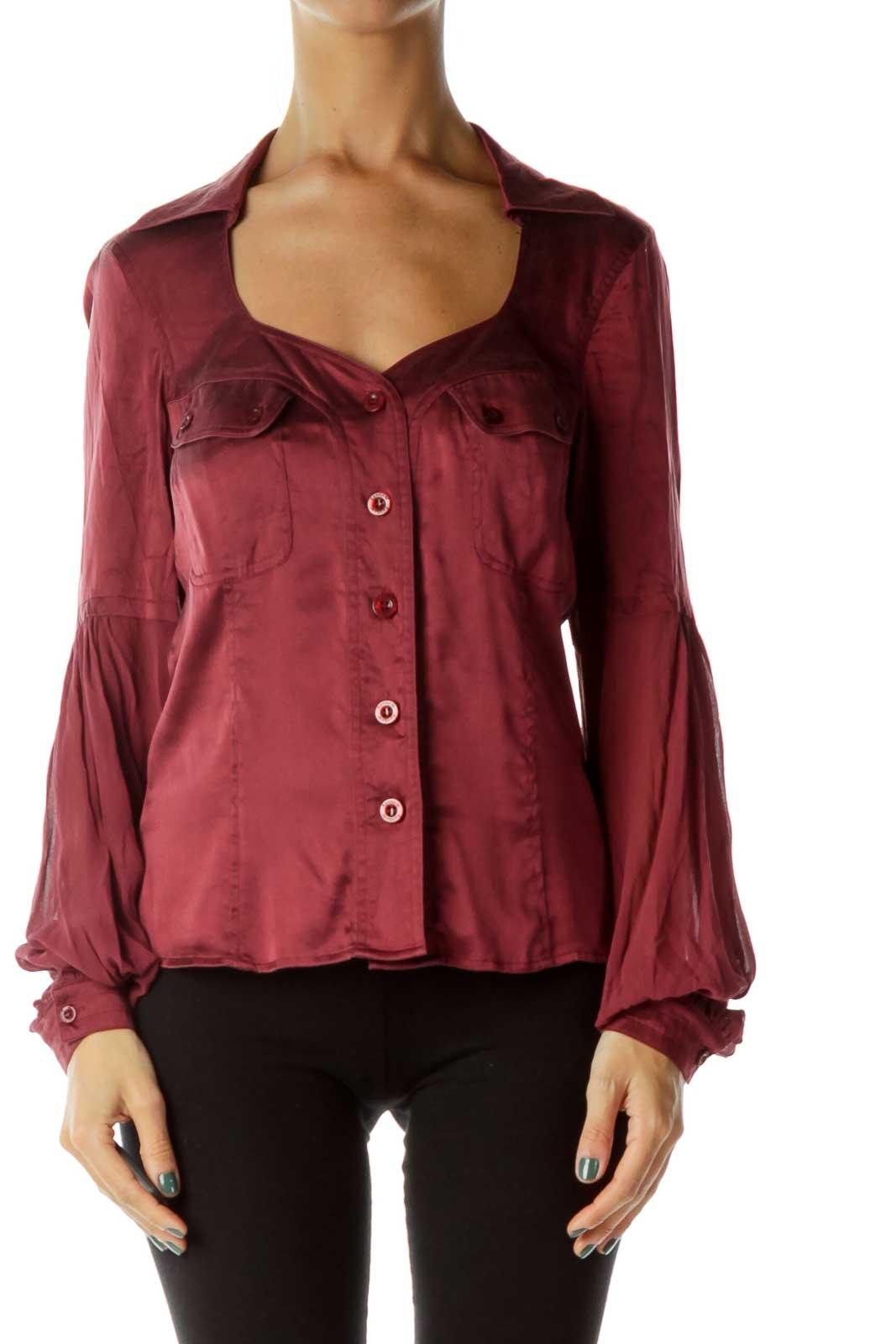 Burgundy Sheer-Sleeve Shirt Front