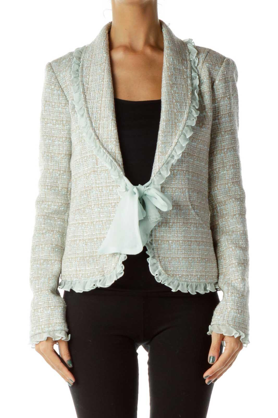 Beige Tweed Blazer w/ Frills Front