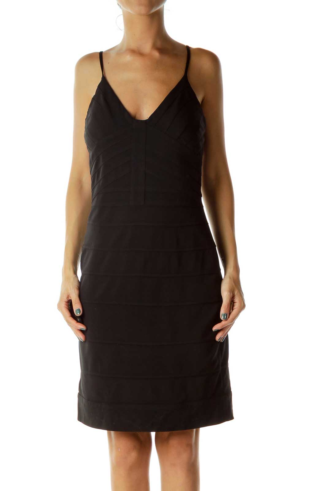 Black Stitched Bodycon Cocktail Dress Front