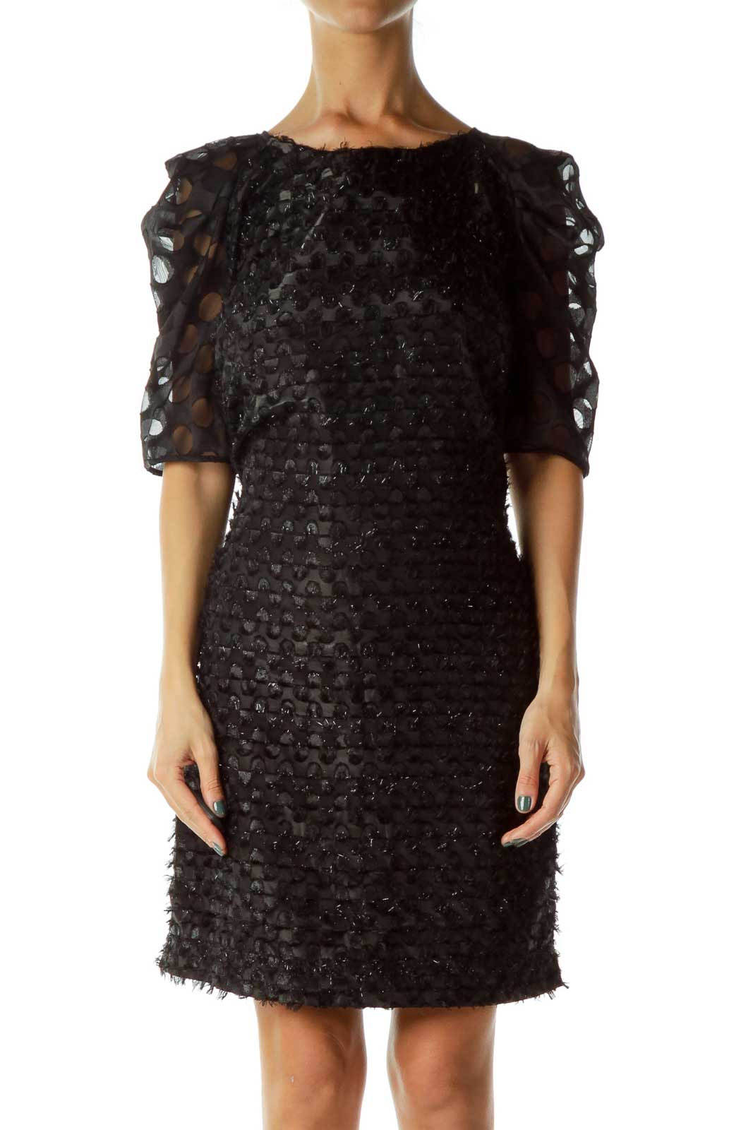 Black Sparkly Short Sleeve Dress Front
