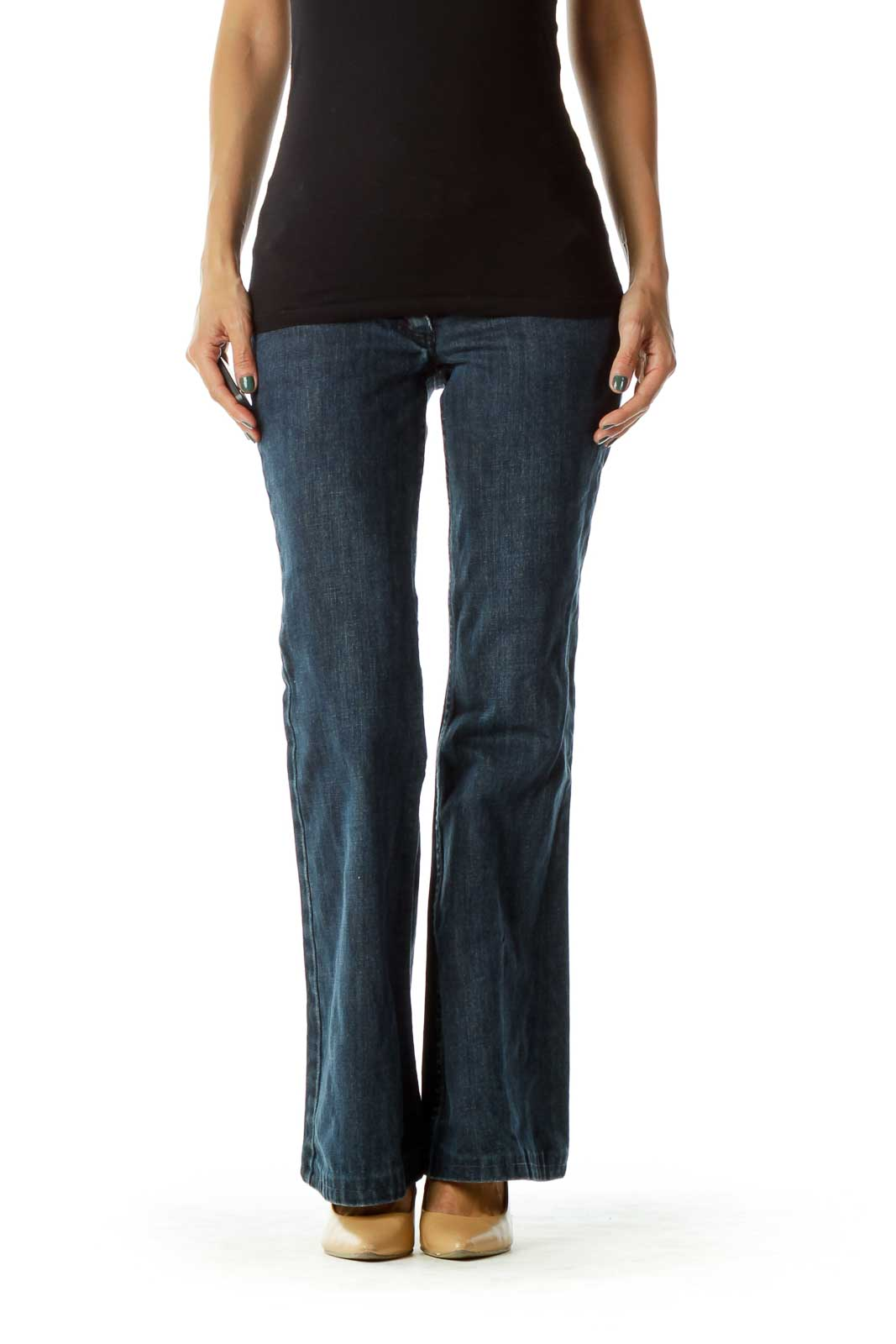 Navy Flared Distressed Jeans Front