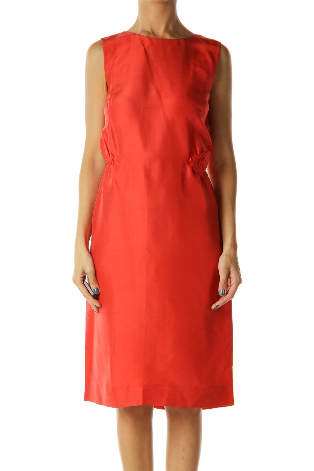 Red Sleeveless Dress Front