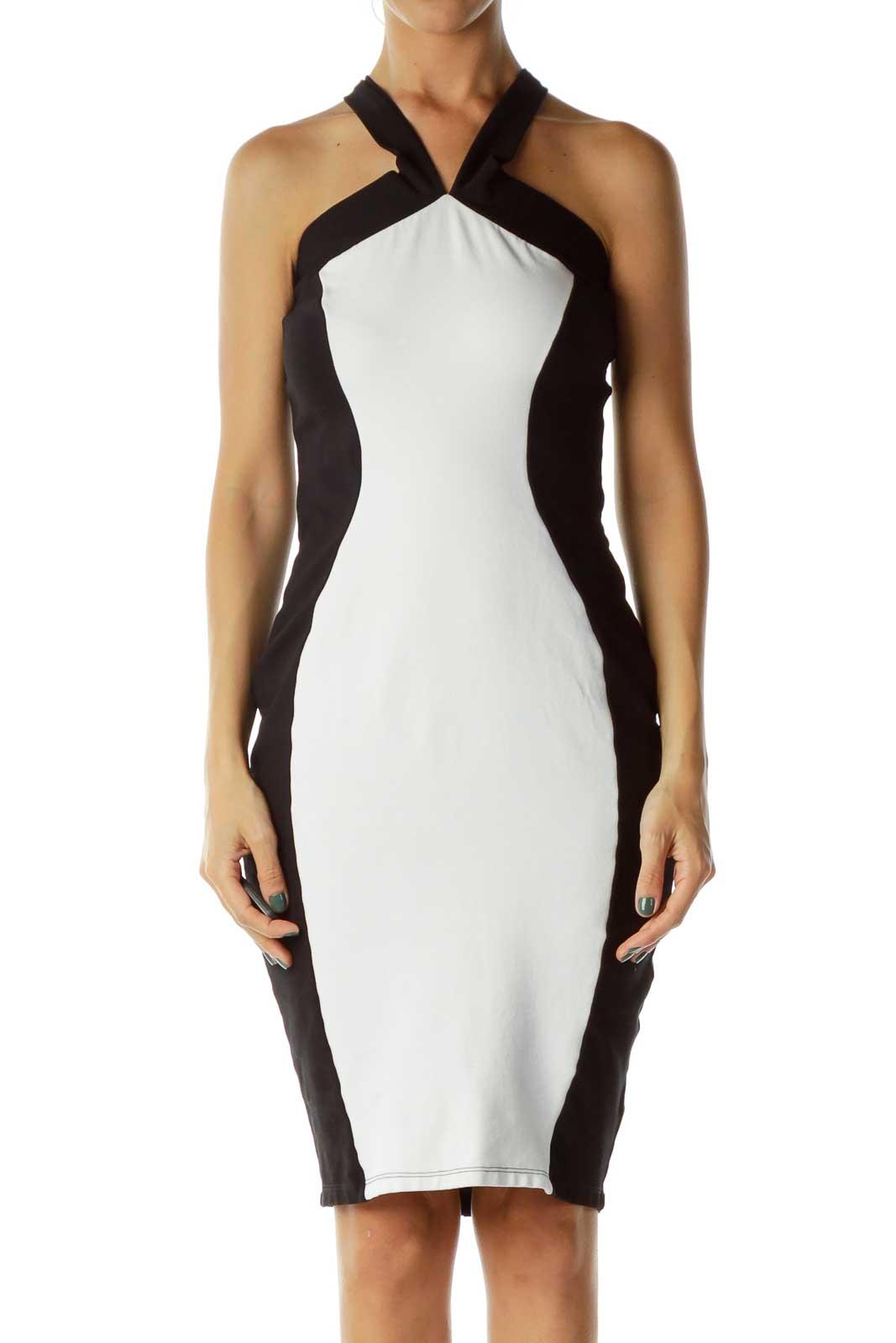 Black/White Criss-Cross Bodycon Dress Front