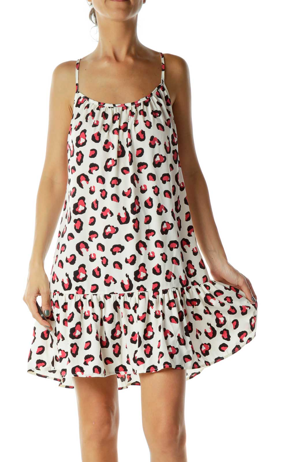White Pink Leopard Shift Day Dress Front