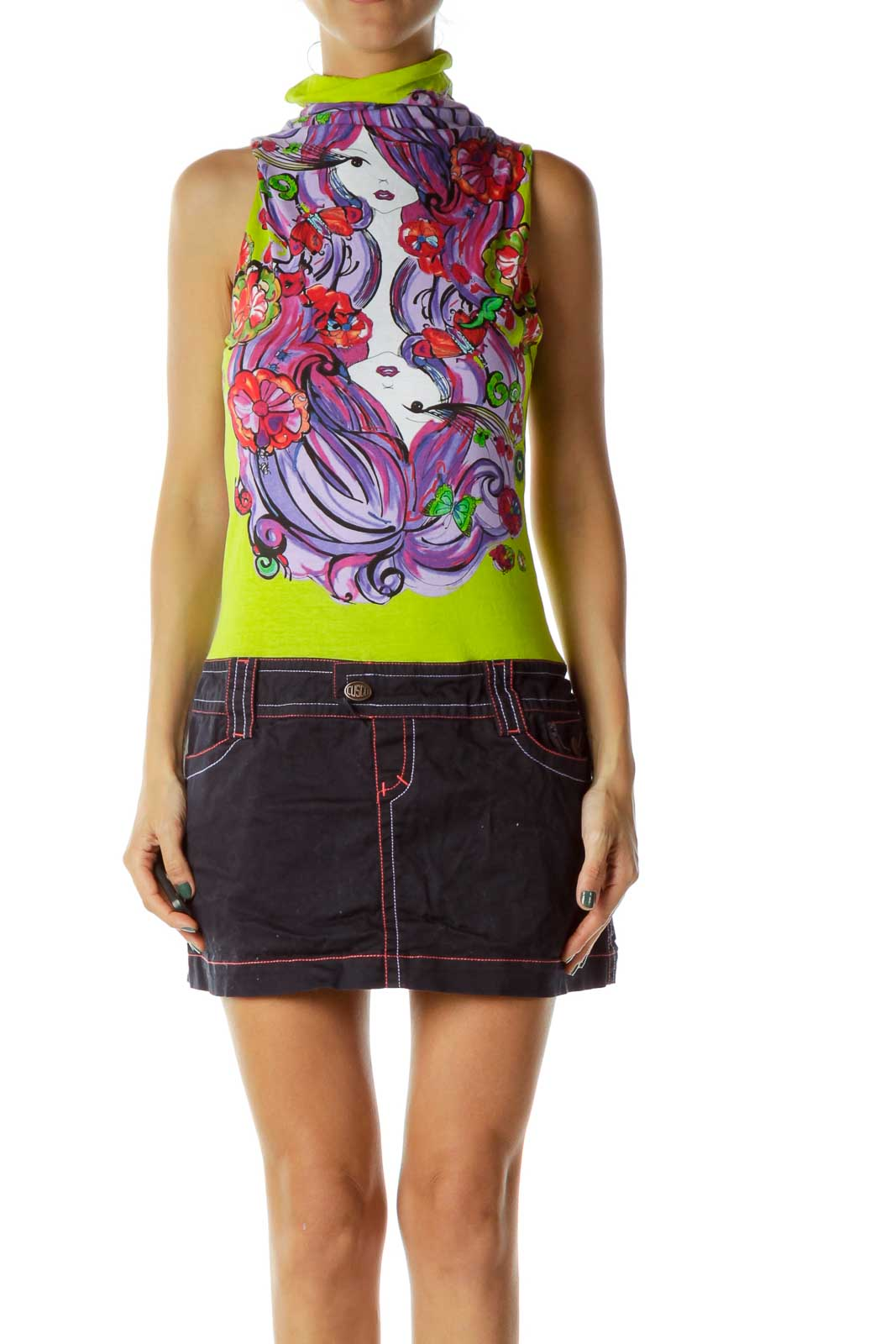 Multicolor Denim Drawing Dress Front