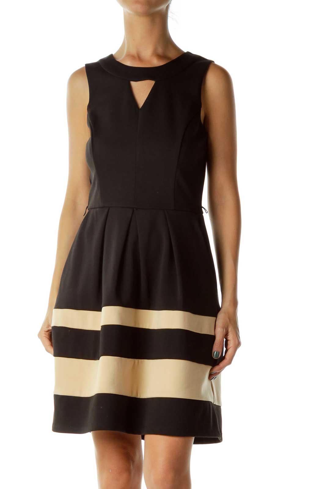Black/Biege Sleeveless Dress Front