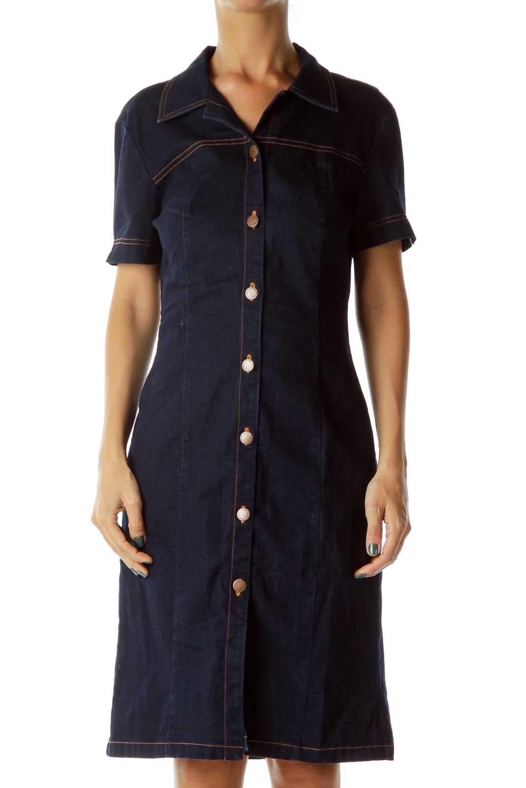 Navy Denim Buttoned Dress Front