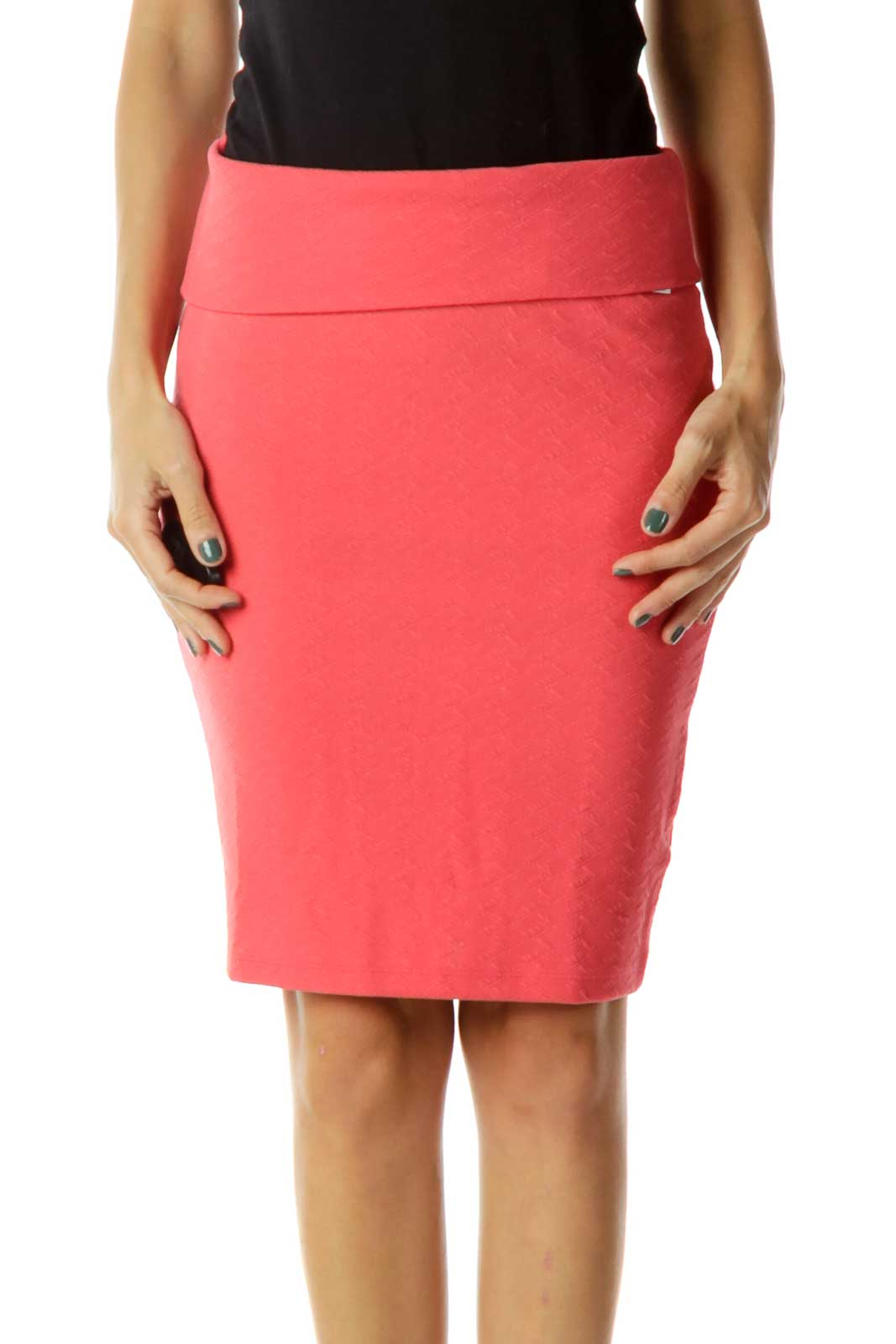 Pink Fitted Pencil Skirt Front