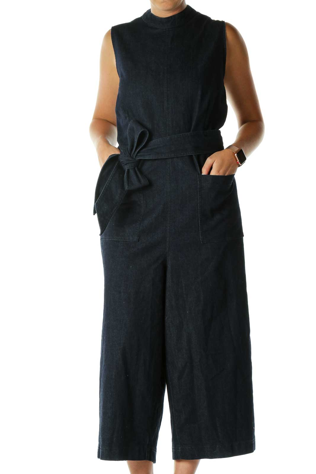 Blue Denim Sleeveless Jumpsuit Front