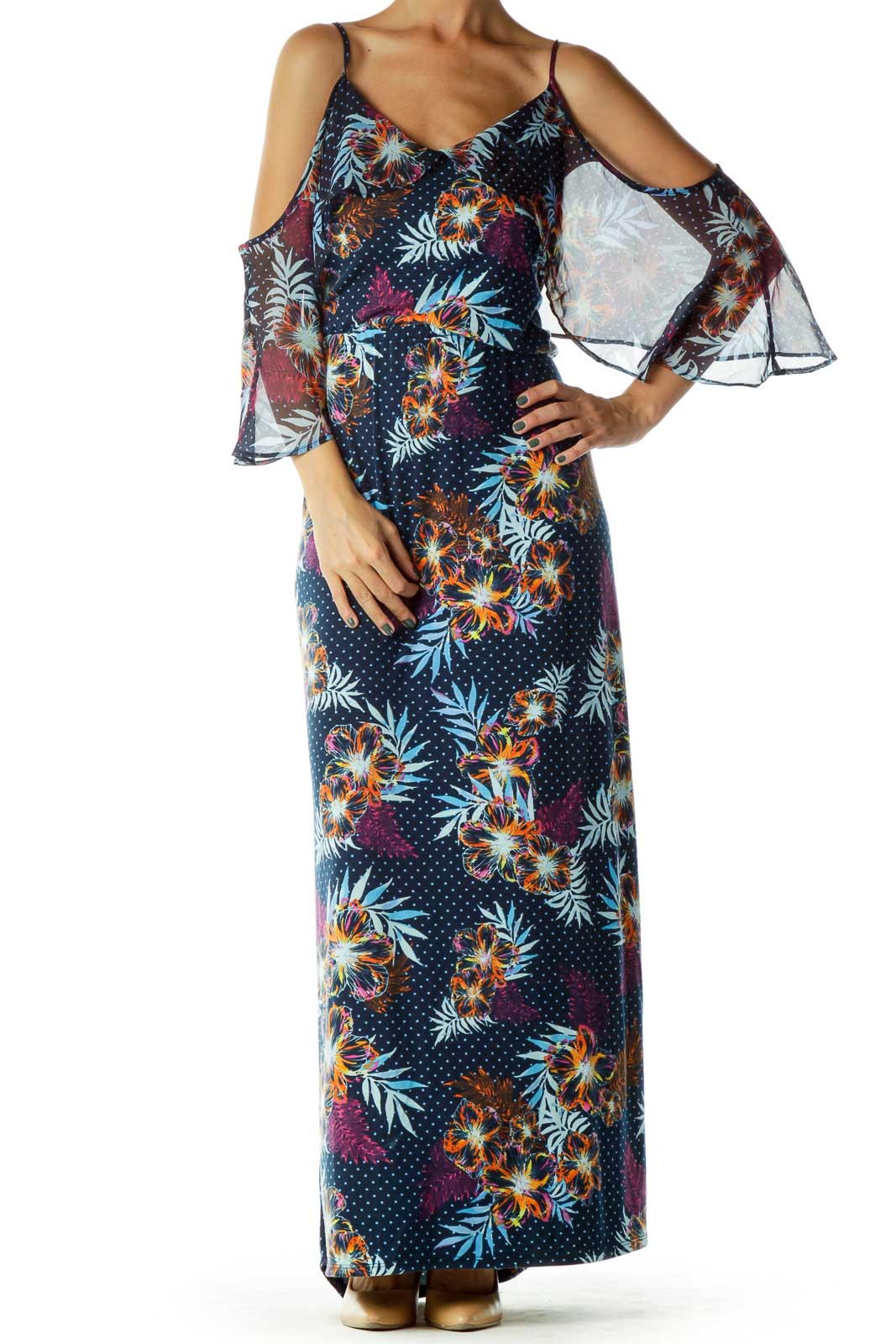 Blue Multicolor Printed Maxi Dress Front
