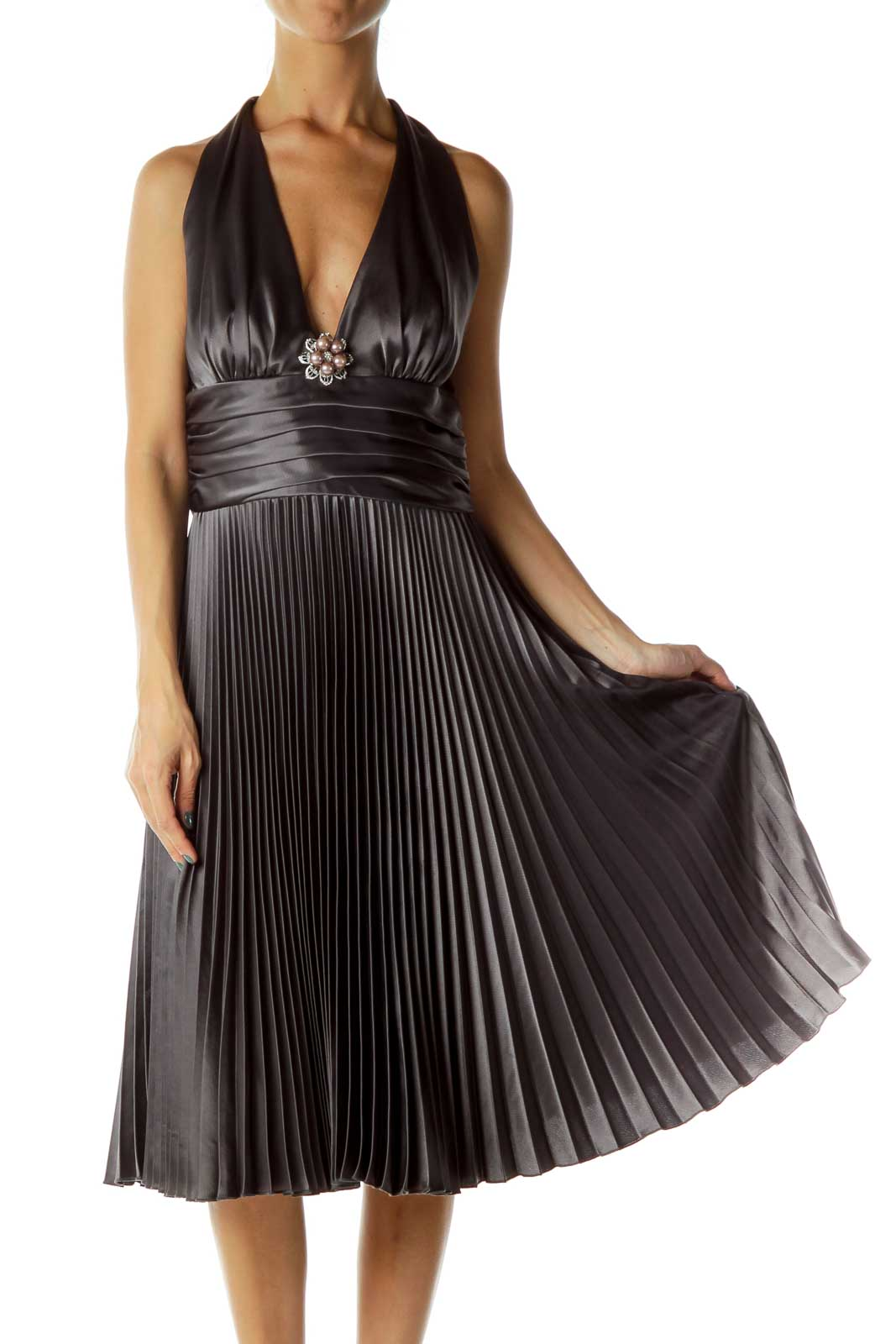Gray Pleated Satin Halter Evening Dress Front