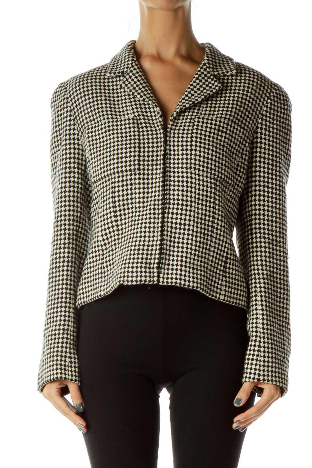 Black Beige Tweed Blazer Front