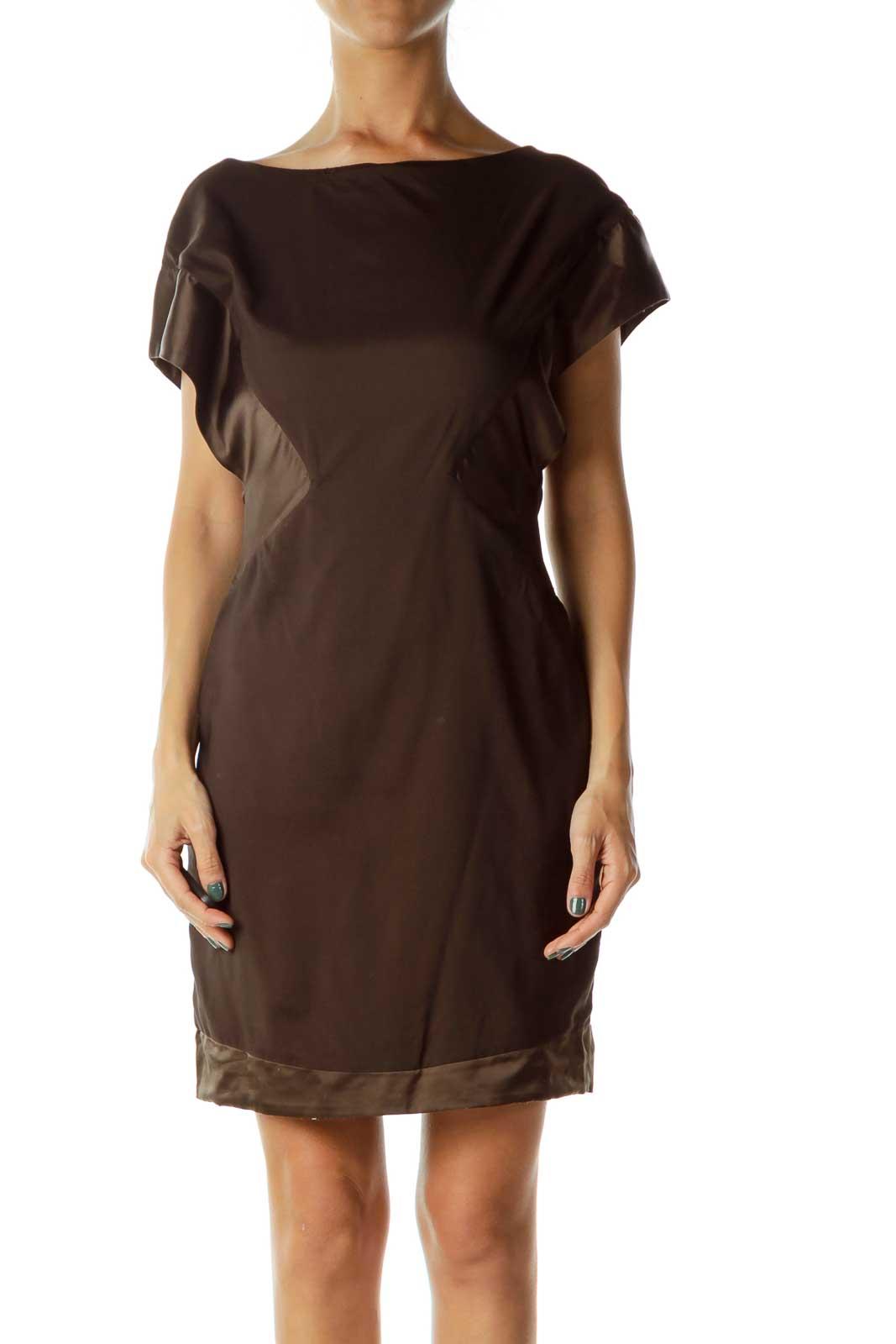 Brown Satin Detail Dress Front