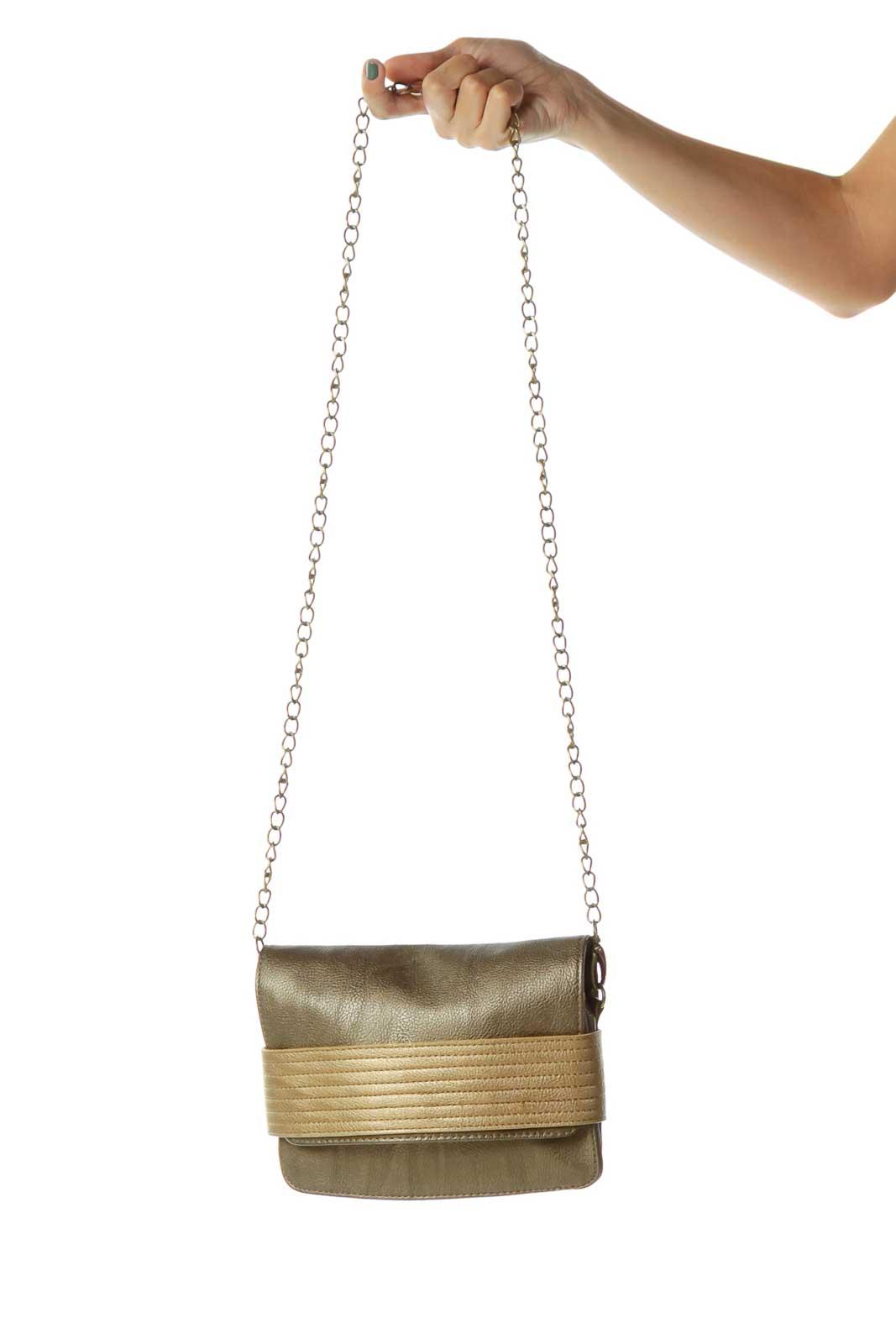 Gold Two-Tone Metallic Crossbody Bag Front