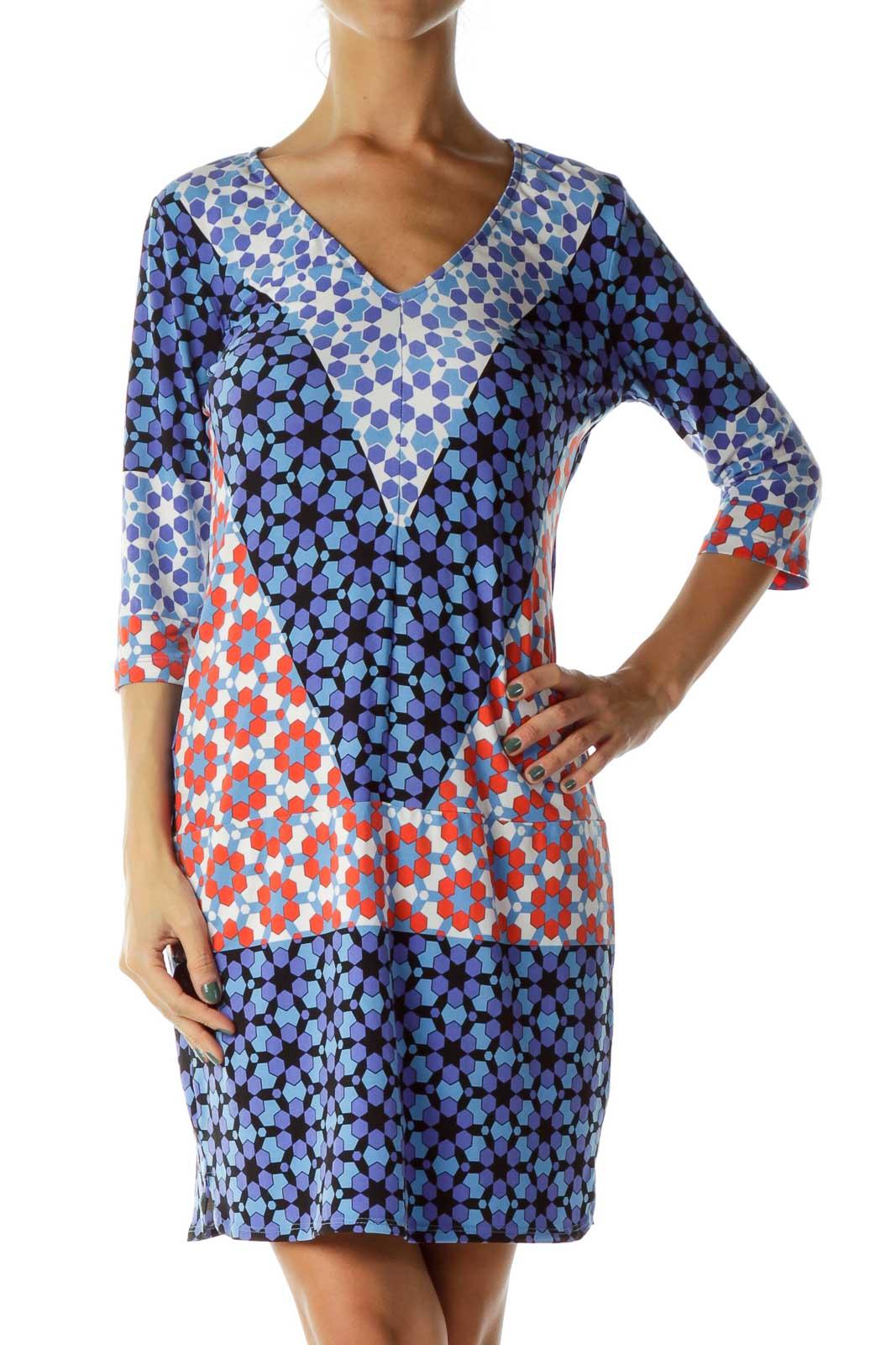 Blue Multicolor Geometric Print Shift Dress Front