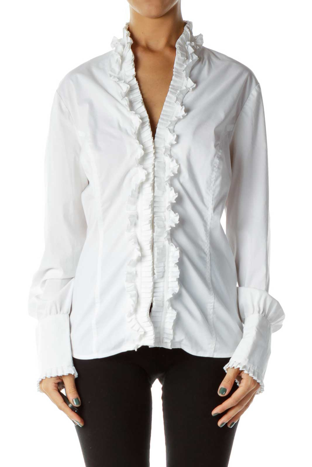 White Ruffled Blouse Front